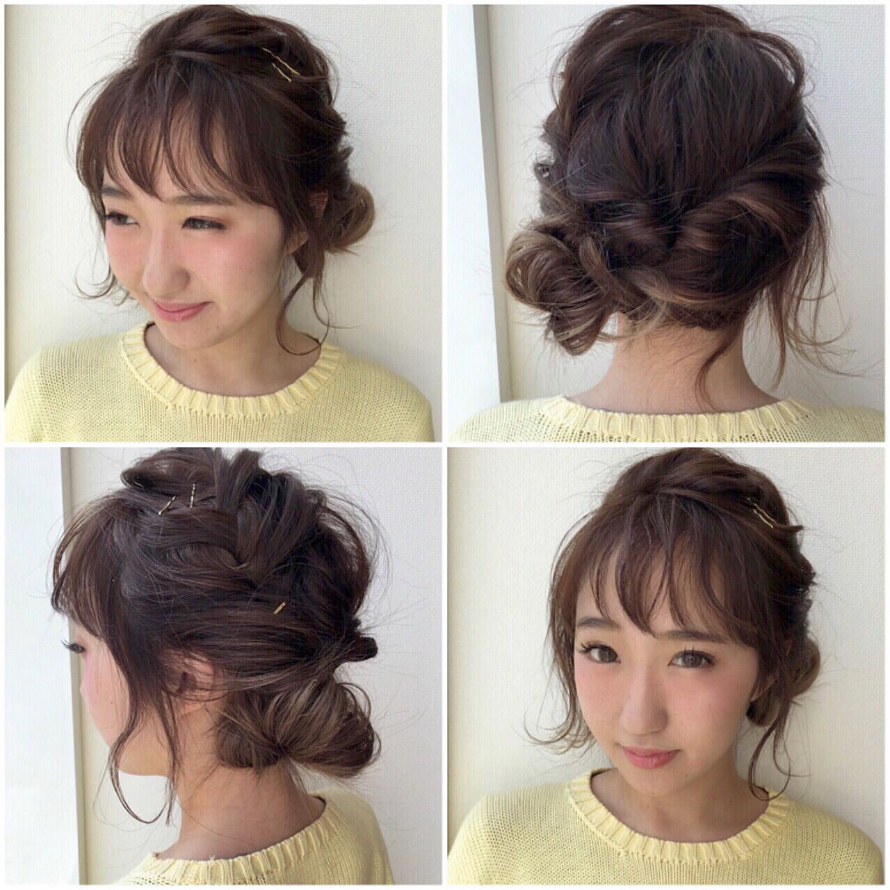 ヘアアレンジ くるりんぱ ショート 簡単ヘアアレンジ ヘアスタイルや髪型の写真・画像