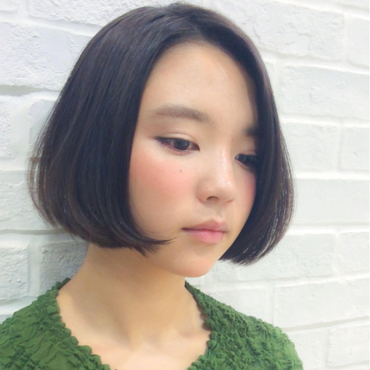 丸顔さんもすっきり見えするシンプルワンレングスボブ 細田真吾