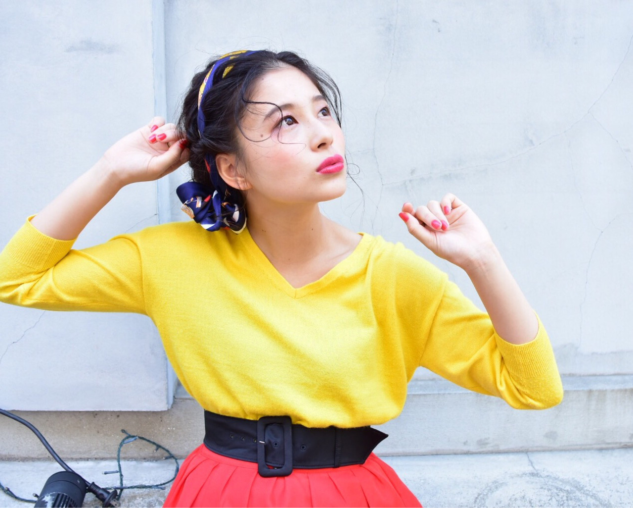 ガーリー ヘアアレンジ バンダナ セミロング ヘアスタイルや髪型の写真・画像