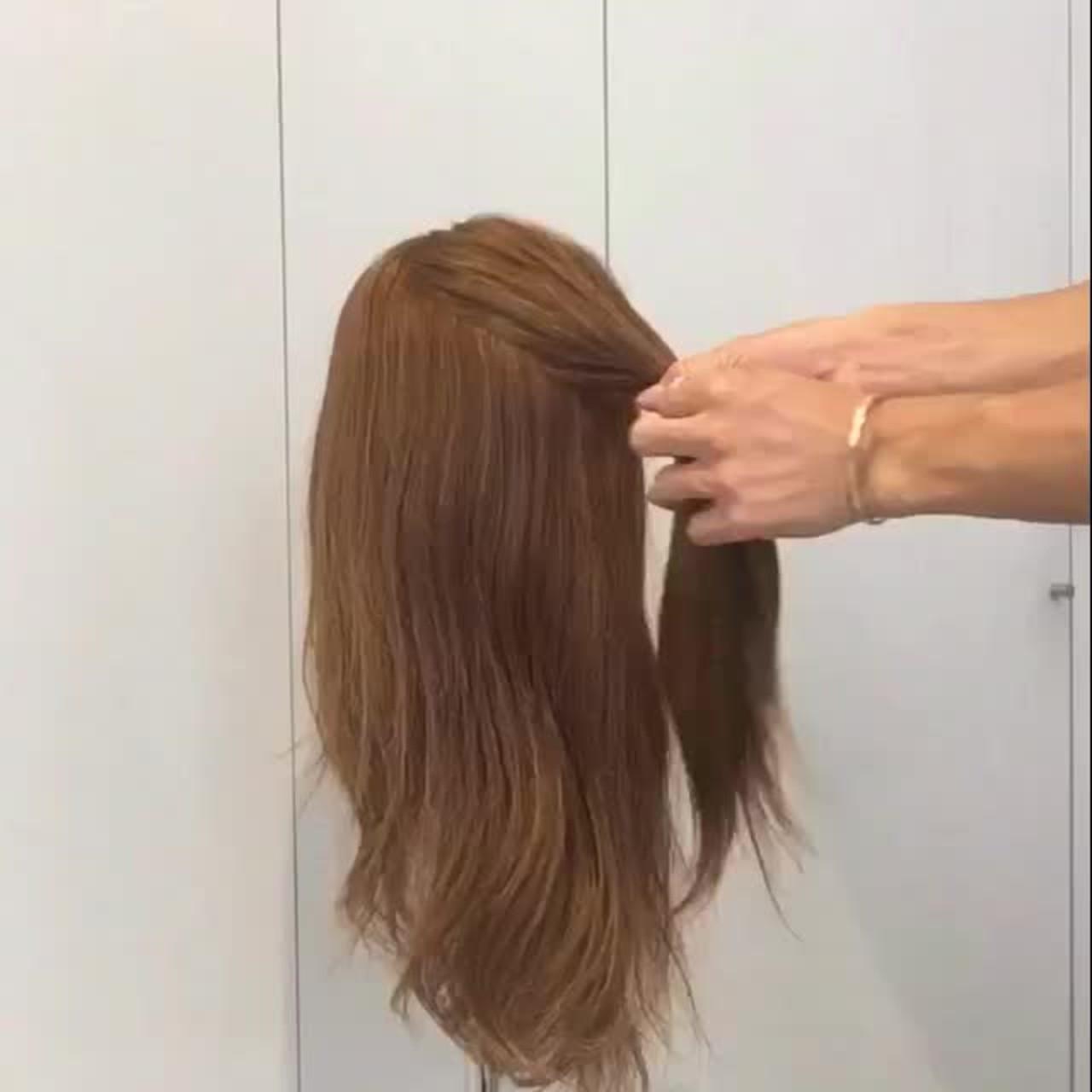くるりんぱ セルフヘアアレンジ セミロング ナチュラル ヘアスタイルや髪型の写真・画像