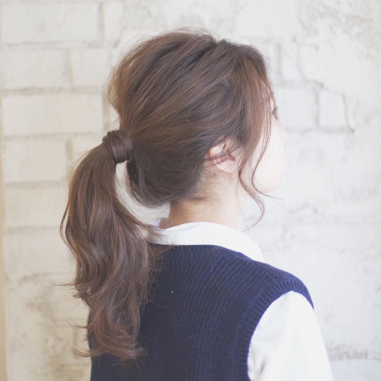 セミロング ショート ヘアアレンジ ポニーテール ヘアスタイルや髪型の写真・画像