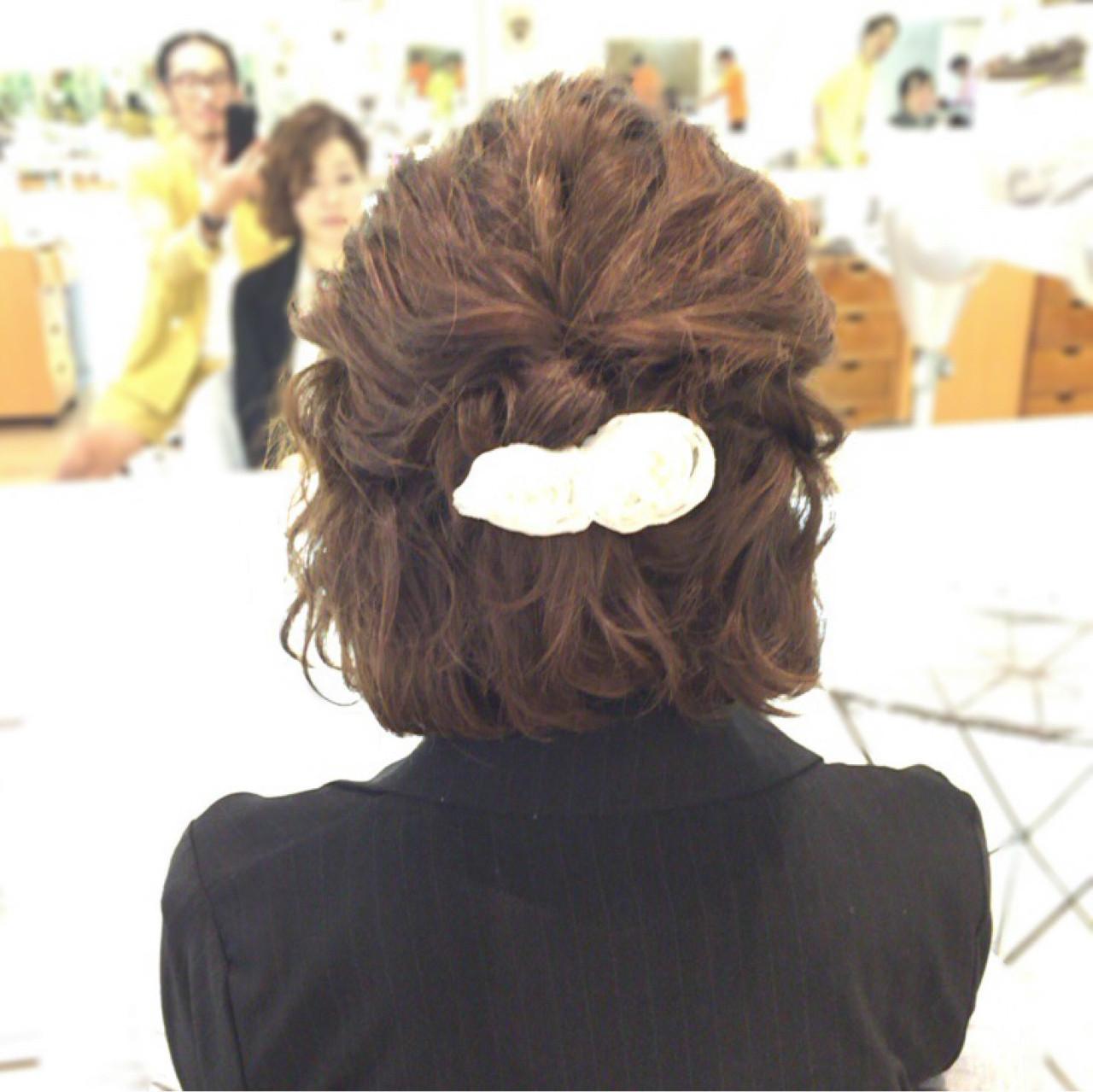 ボブ ヘアアレンジ パーティ 結婚式 ヘアスタイルや髪型の写真・画像