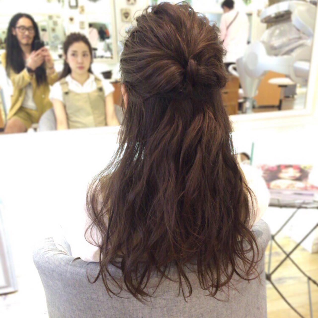ハーフアップ アップスタイル パーティ 結婚式 ヘアスタイルや髪型の写真・画像