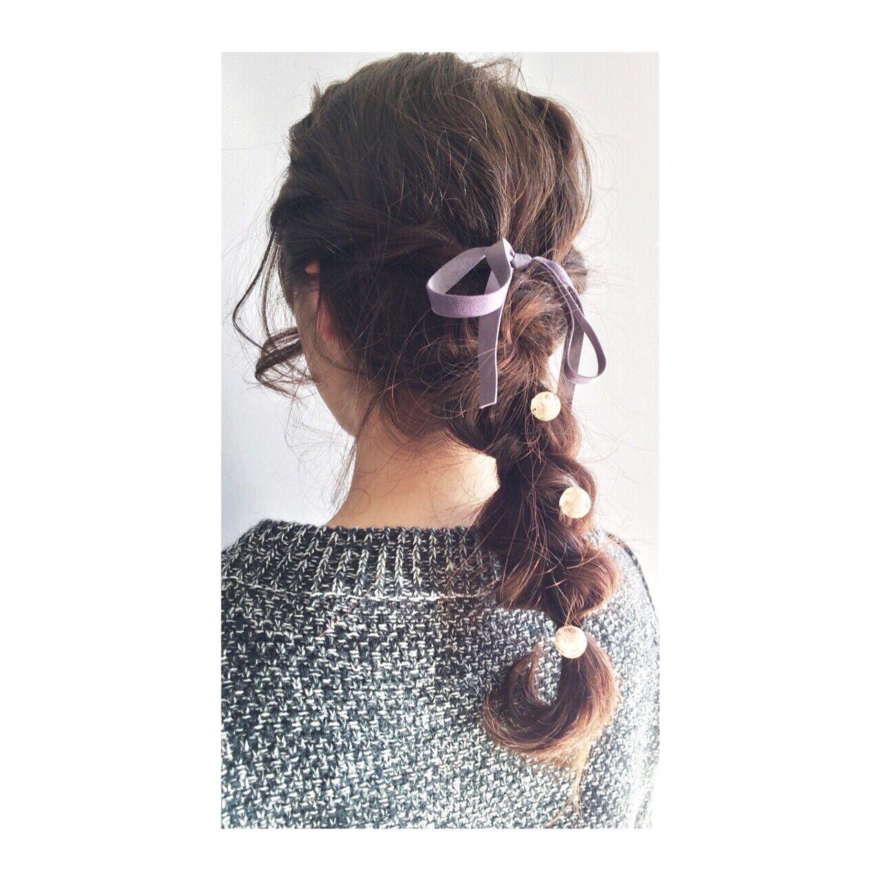 ゆるふわ ヘアアレンジ 三つ編み ガーリー ヘアスタイルや髪型の写真・画像