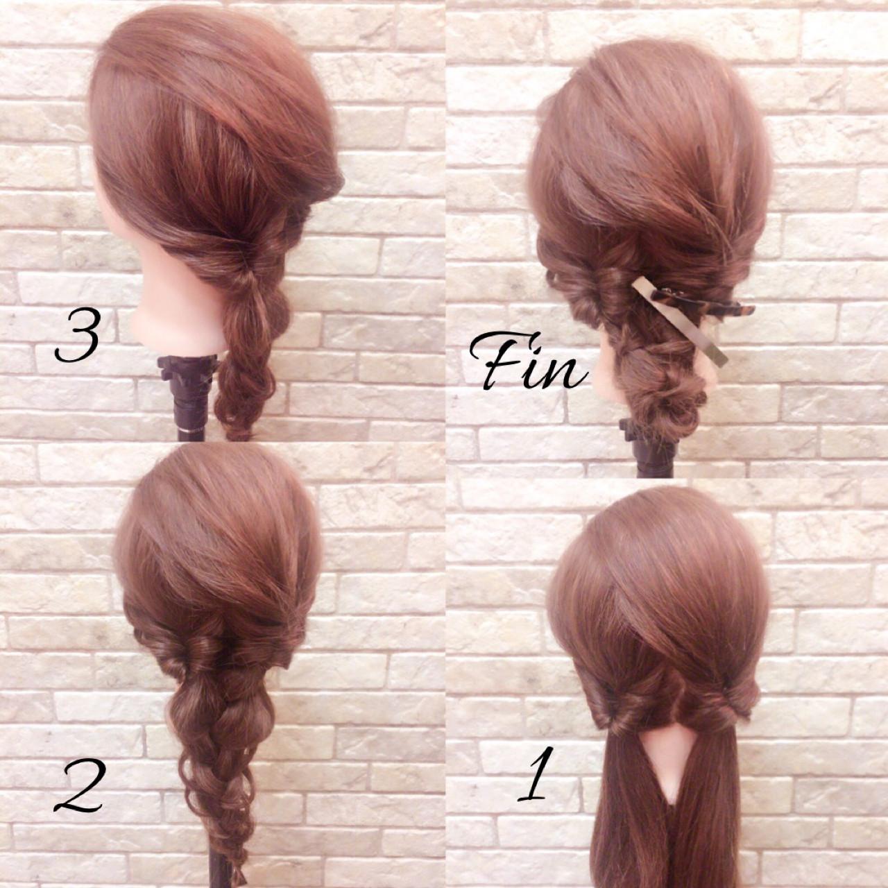 ミディアム 大人女子 フェミニン 簡単ヘアアレンジ ヘアスタイルや髪型の写真・画像