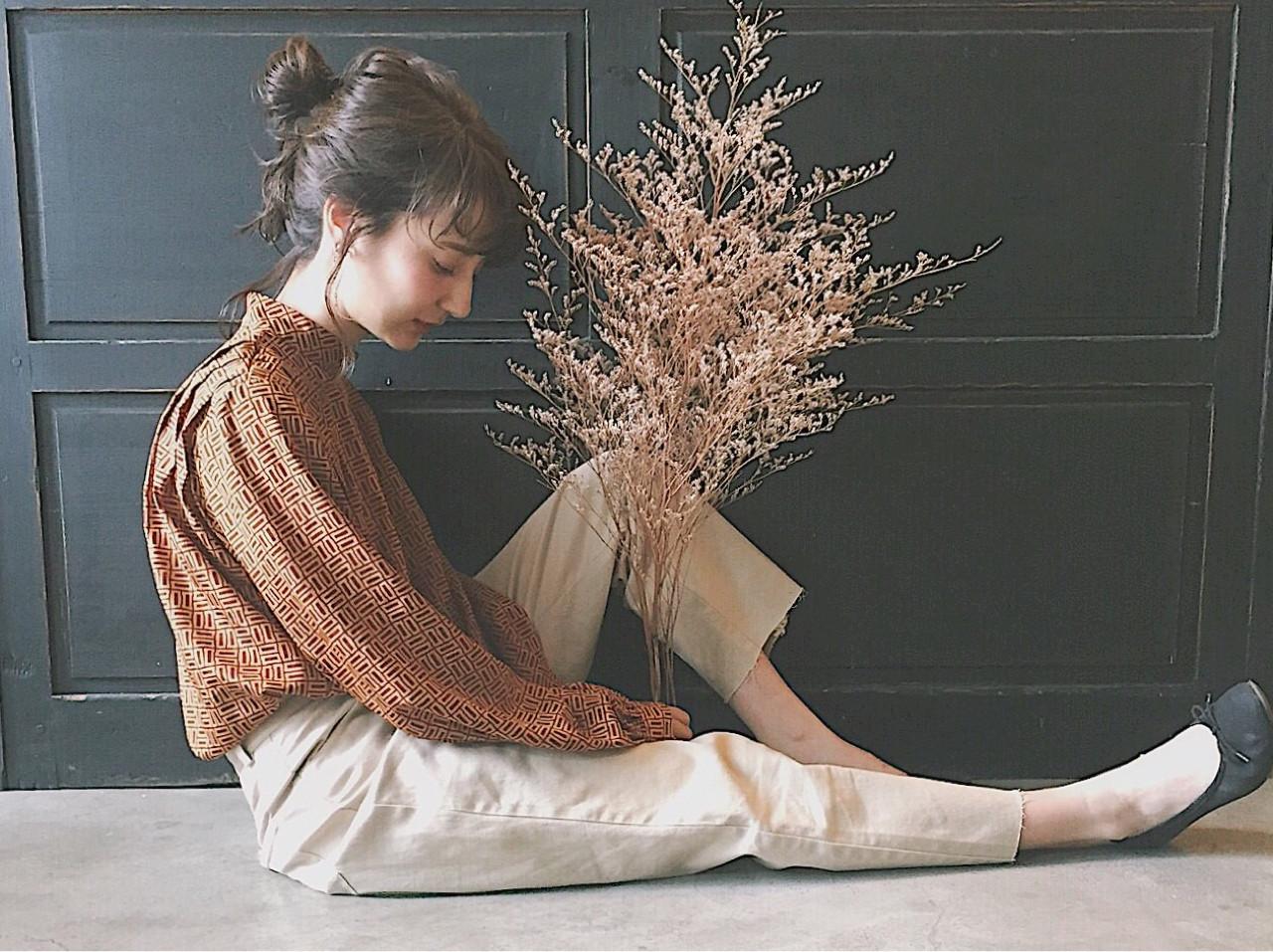 前髪あり 冬 大人女子 簡単ヘアアレンジ ヘアスタイルや髪型の写真・画像