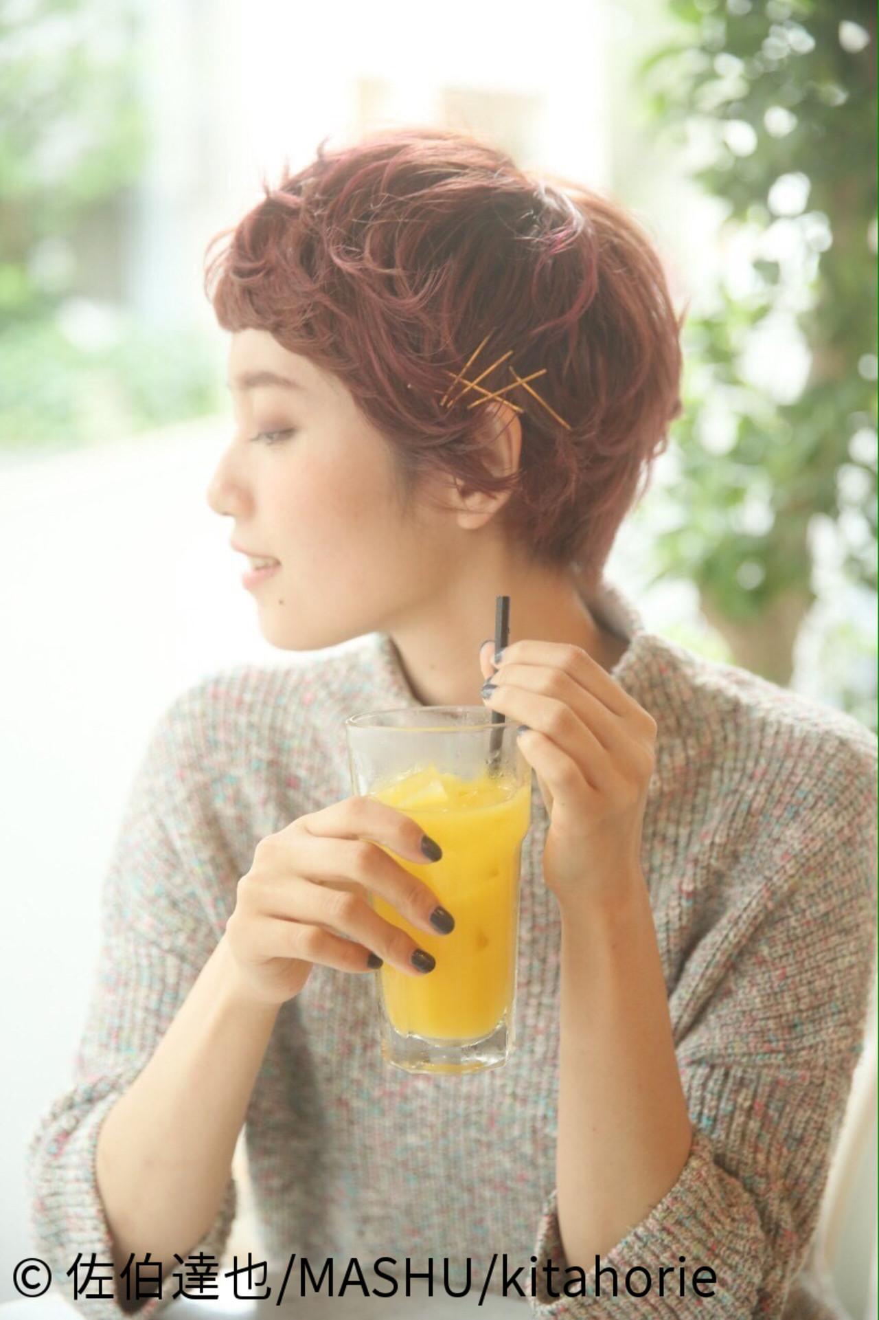 ピュア 夏 ヘアアレンジ ショート ヘアスタイルや髪型の写真・画像