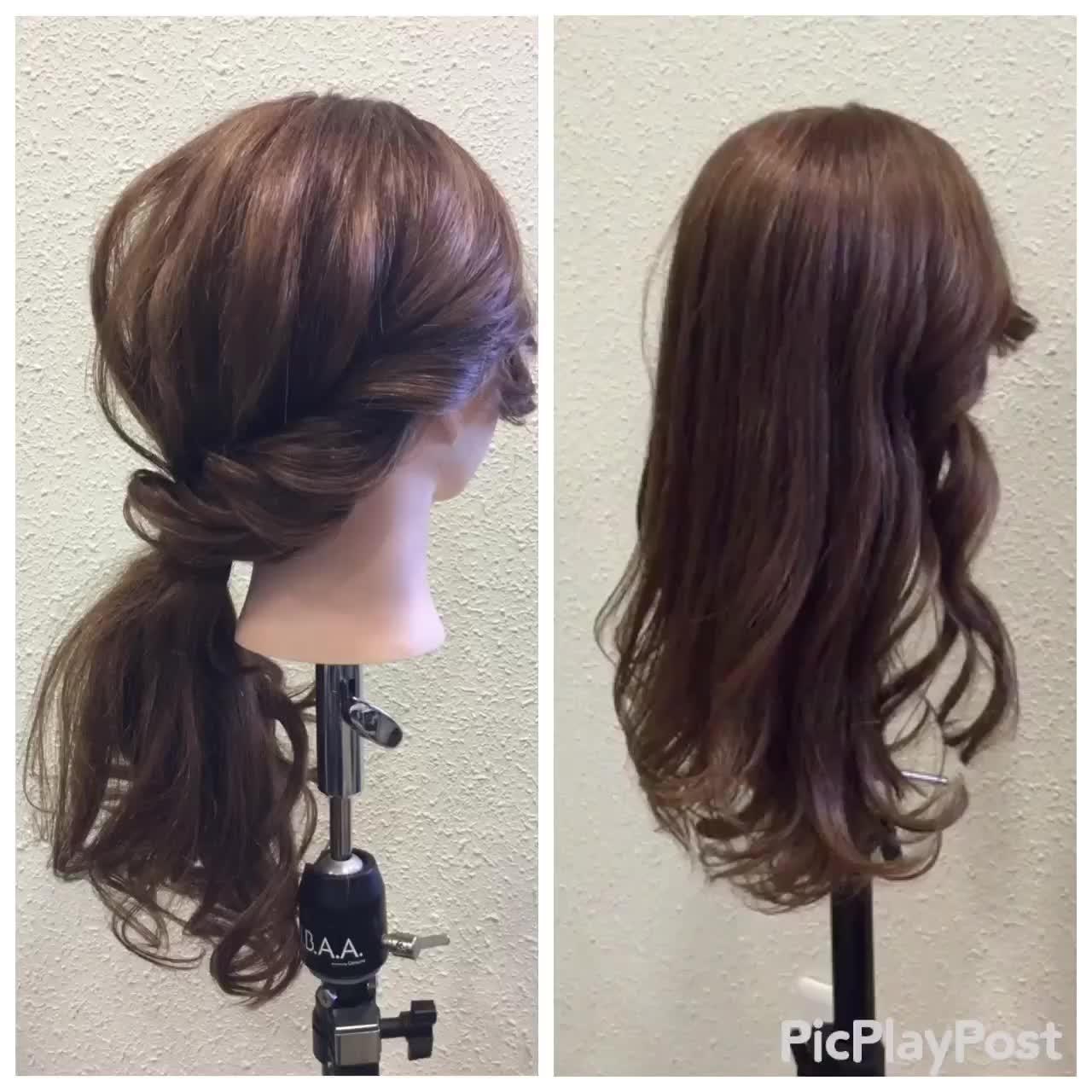 ナチュラル 結婚式 ロング 簡単ヘアアレンジ ヘアスタイルや髪型の写真・画像