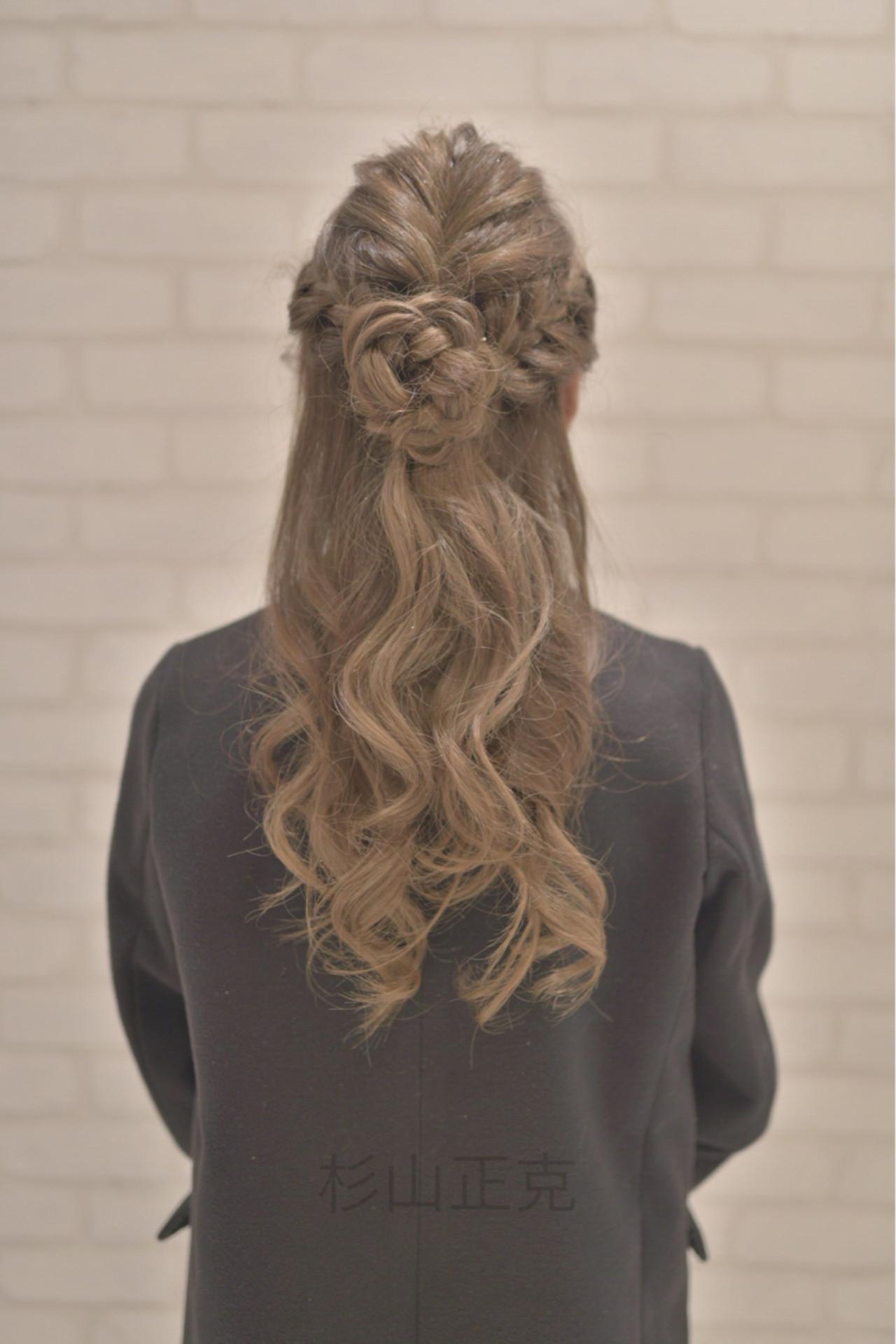 大人かわいい ハーフアップ アッシュ ロング ヘアスタイルや髪型の写真・画像