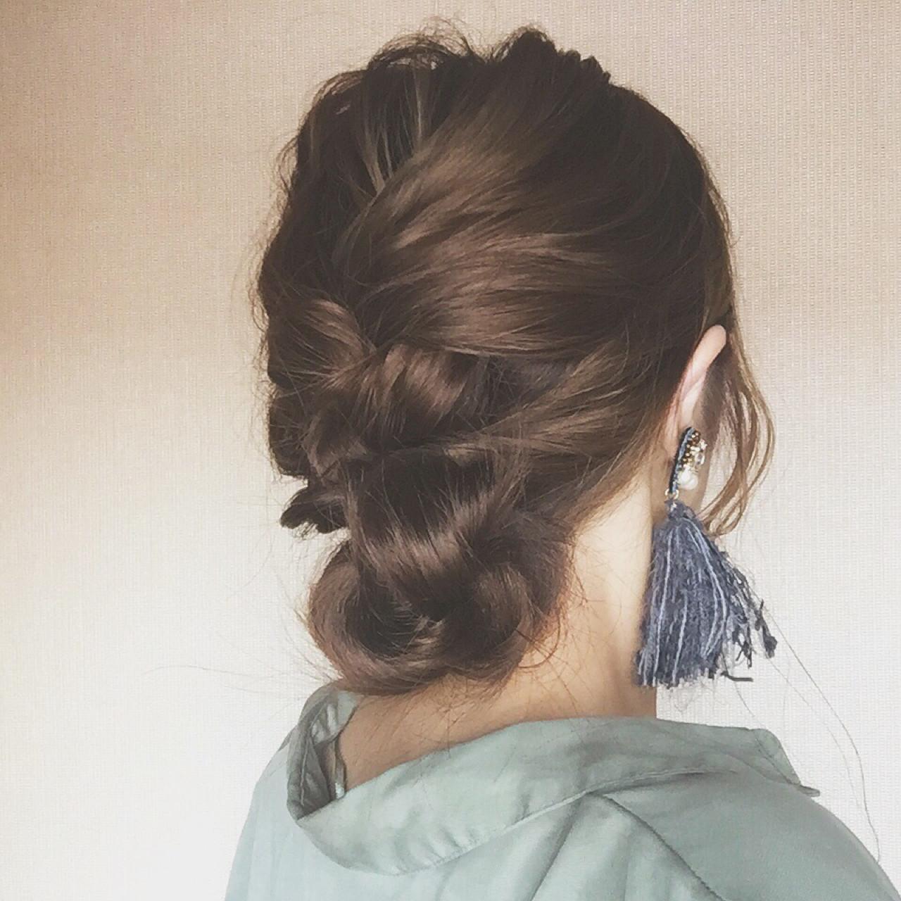 簡単ヘアアレンジ 編み込み ショート セミロング ヘアスタイルや髪型の写真・画像