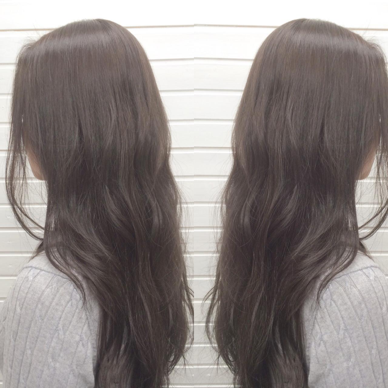 ナチュラル 暗髪 ロング アッシュグレージュ ヘアスタイルや髪型の写真・画像