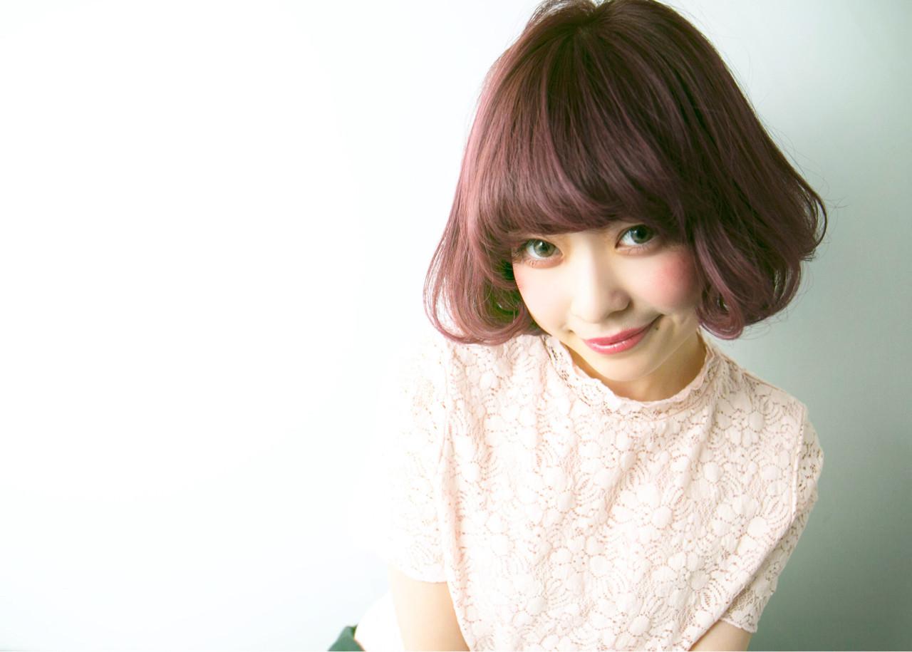 ピンク 春 グレージュ ボブ ヘアスタイルや髪型の写真・画像