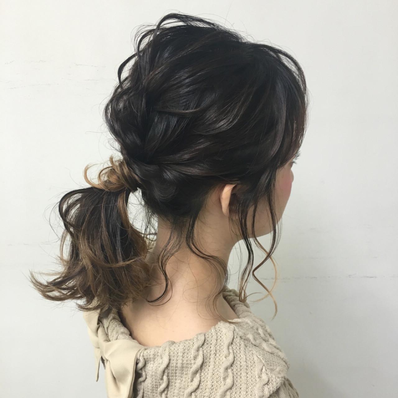 ポニーテール ヘアアレンジ ミディアム 波ウェーブ ヘアスタイルや髪型の写真・画像