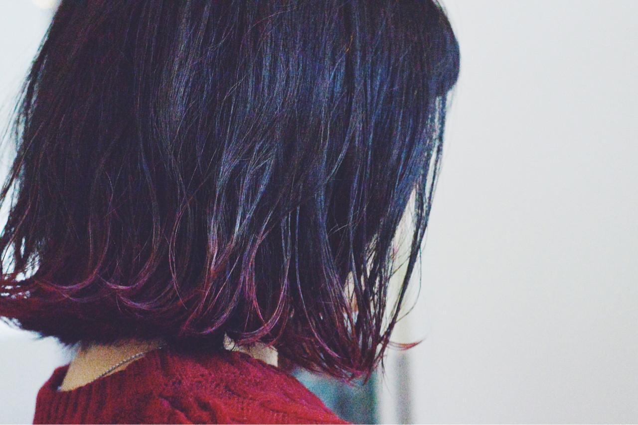 パーマ グラデーションカラー ストリート ボブ ヘアスタイルや髪型の写真・画像