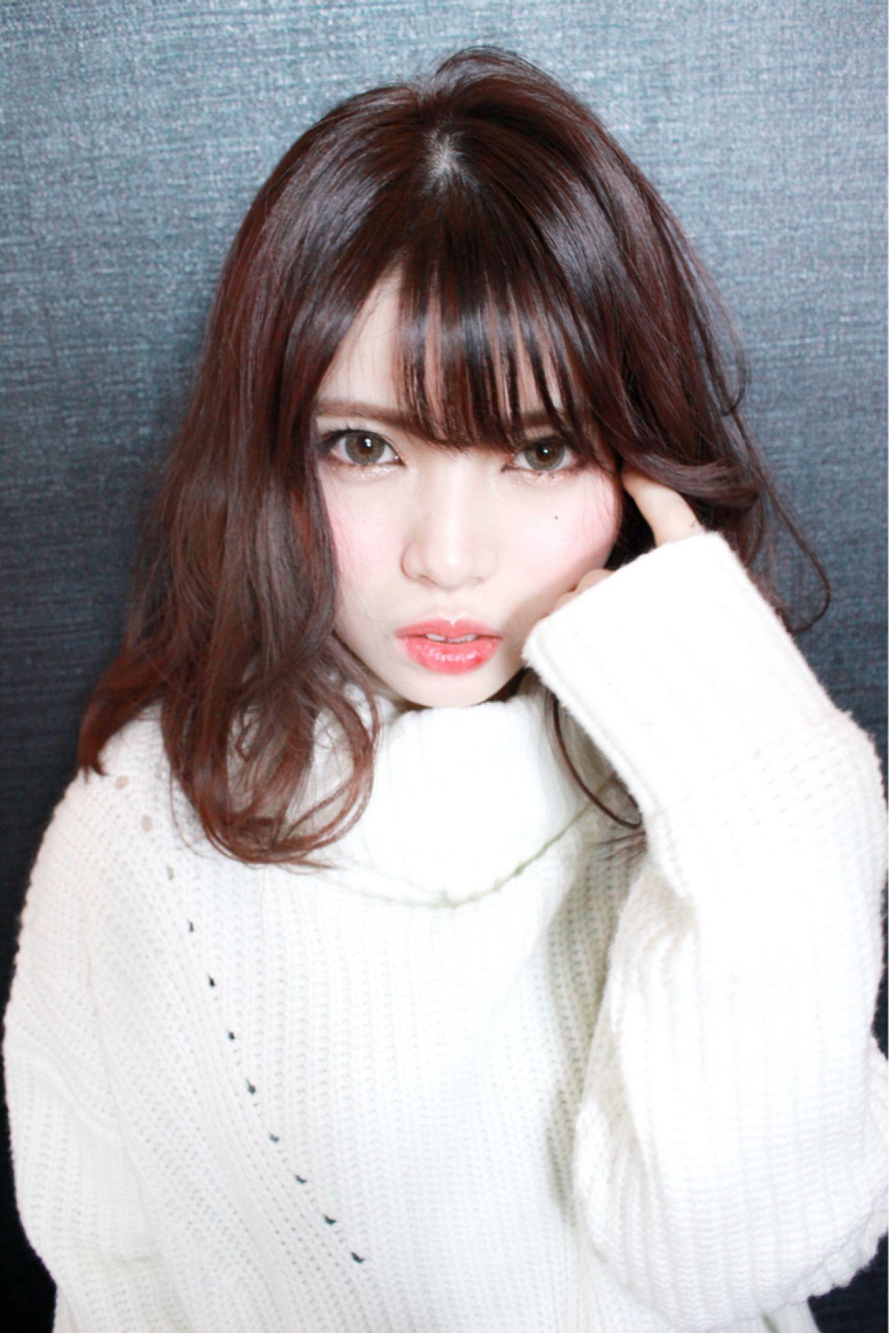 春 モテ髪 ミディアム シースルーバング ヘアスタイルや髪型の写真・画像