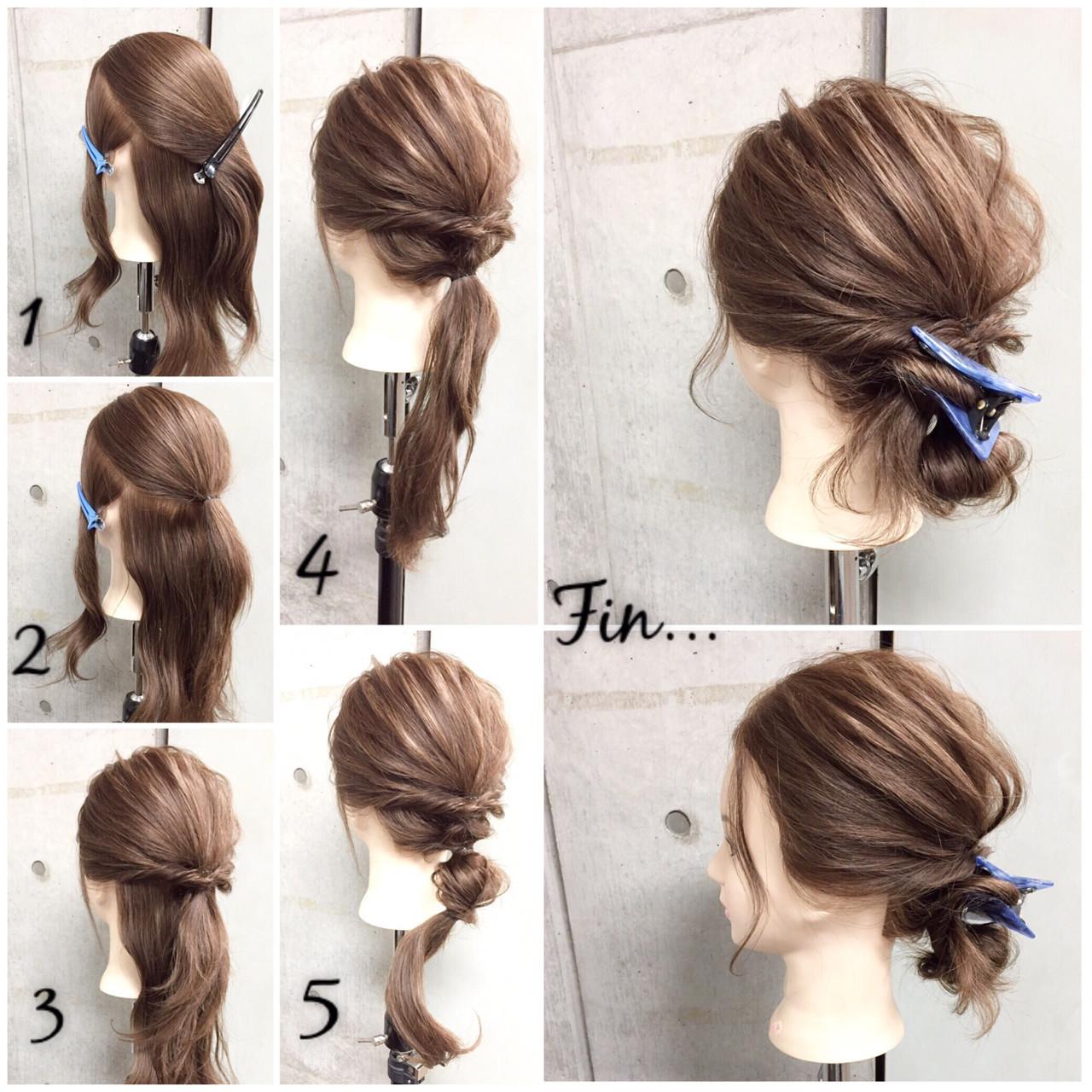 ショート シニヨン 簡単ヘアアレンジ ラフ ヘアスタイルや髪型の写真・画像