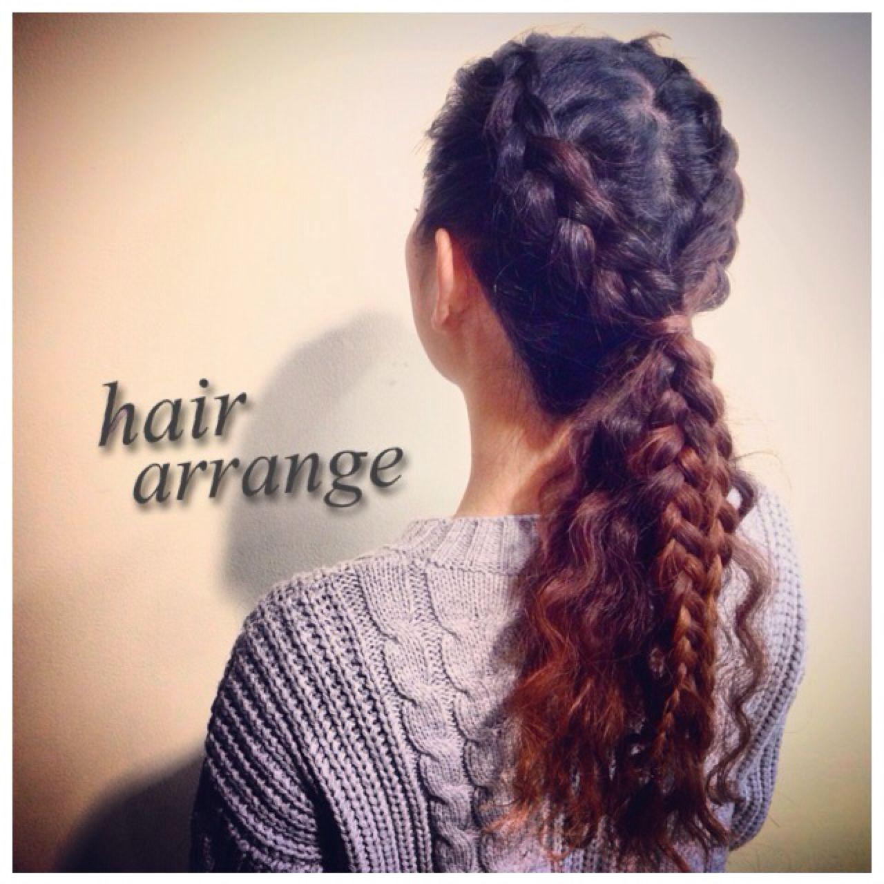 編み込み ヘアアレンジ ストリート 裏編み込み ヘアスタイルや髪型の写真・画像