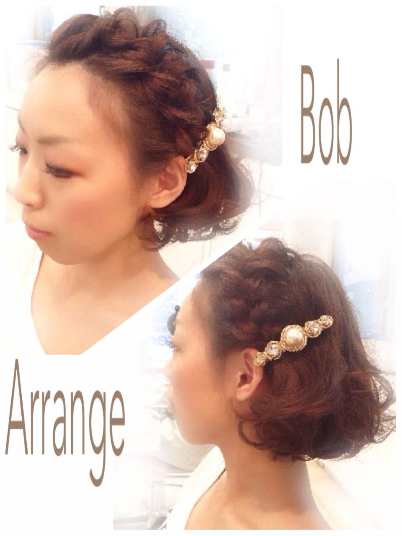 コンサバ ショート ボブ 簡単ヘアアレンジ ヘアスタイルや髪型の写真・画像