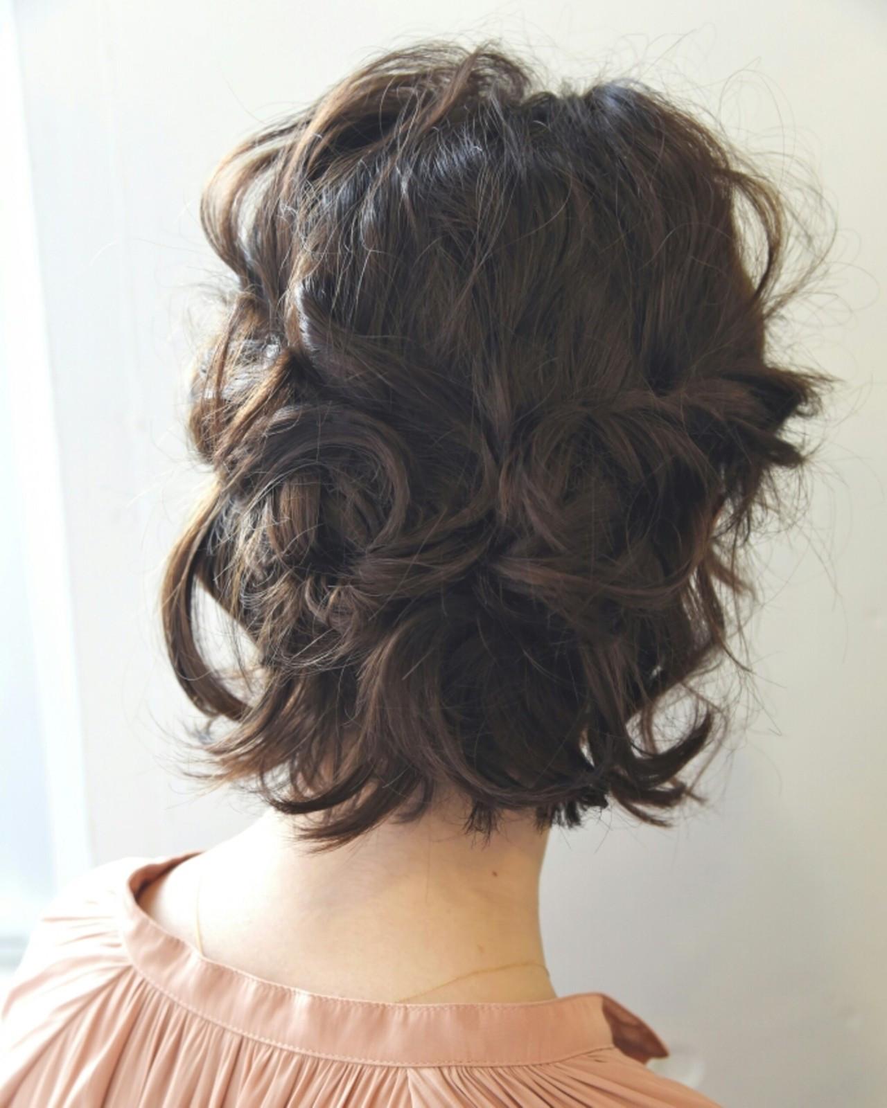 簡単ヘアアレンジ ミルクティー ショート ハーフアップ ヘアスタイルや髪型の写真・画像