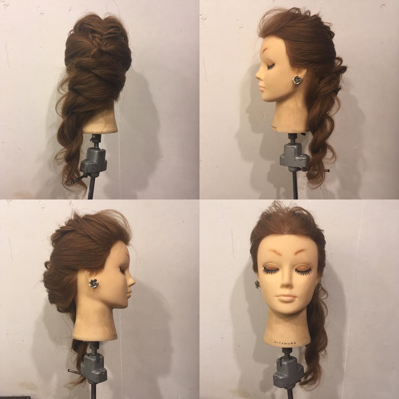 セミロング ロープ編み 編み込み フィッシュボーン ヘアスタイルや髪型の写真・画像