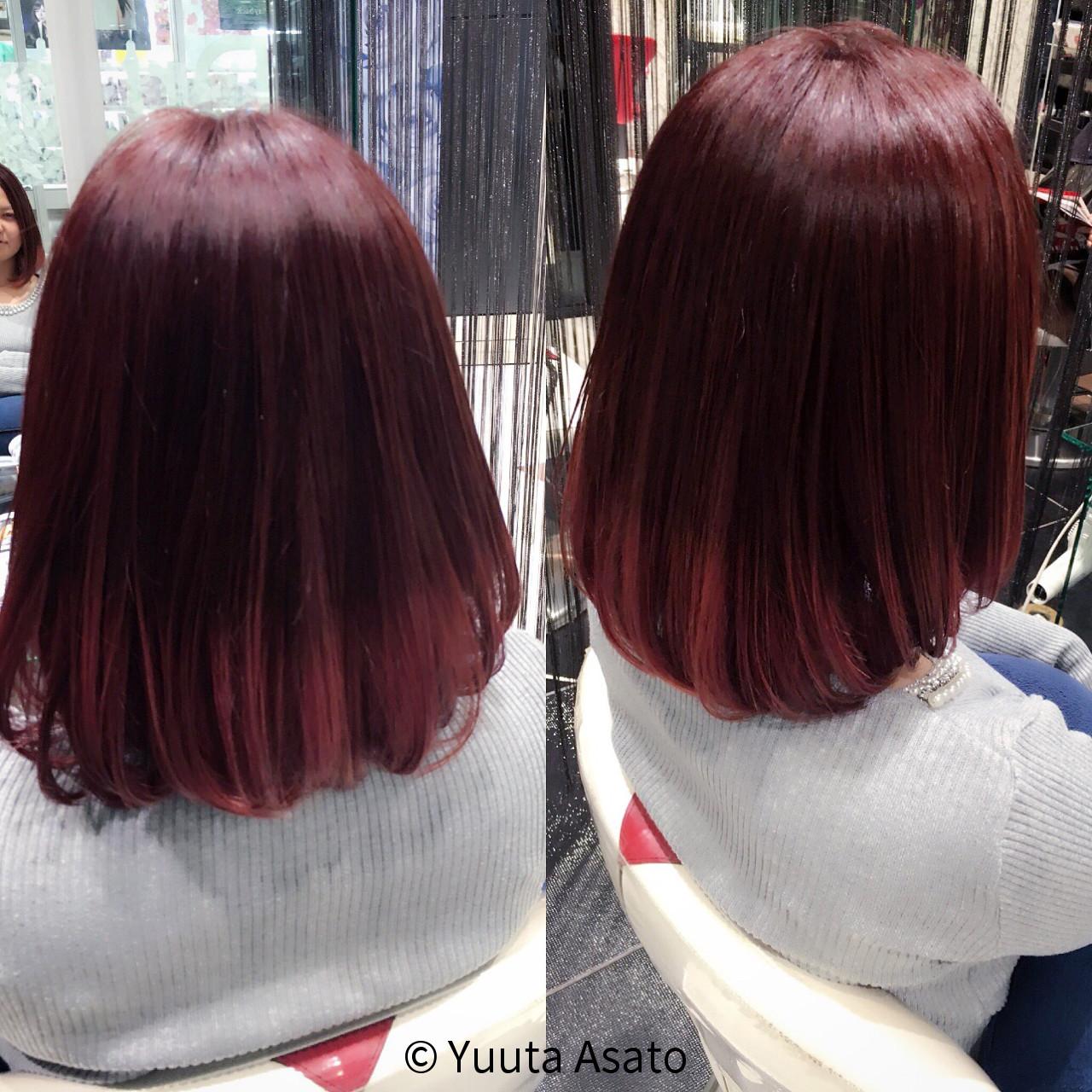 ボブ ガーリー グラデーションカラー 艶髪 ヘアスタイルや髪型の写真・画像