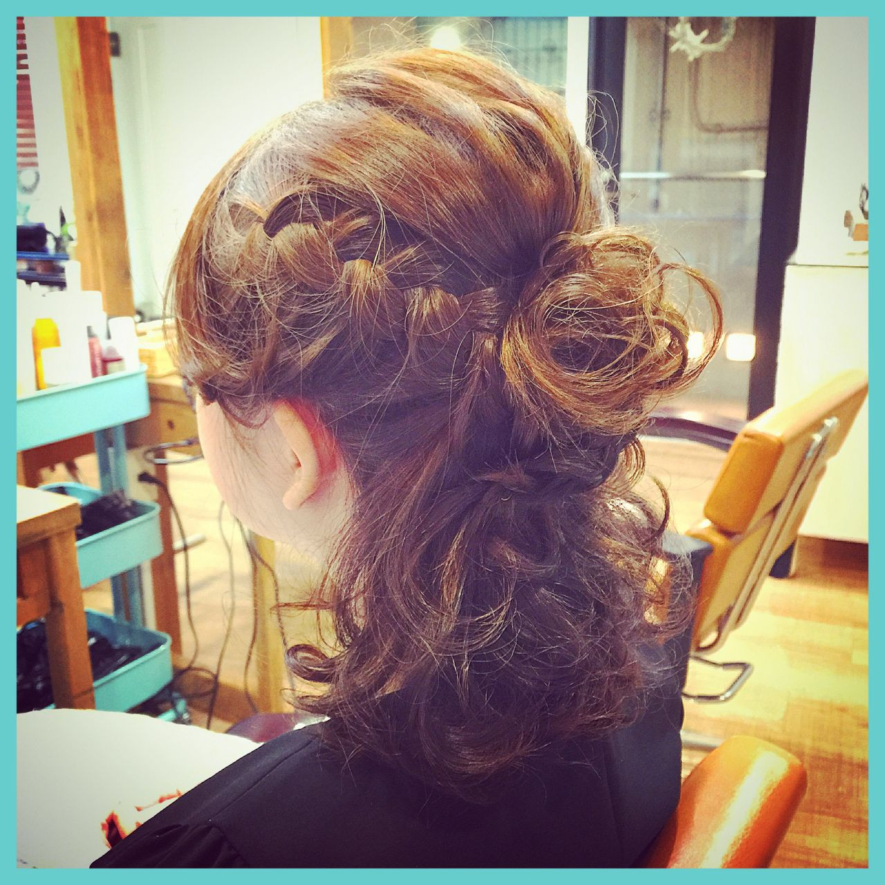 編み込み ヘアアレンジ ハーフアップ ヘアスタイルや髪型の写真・画像