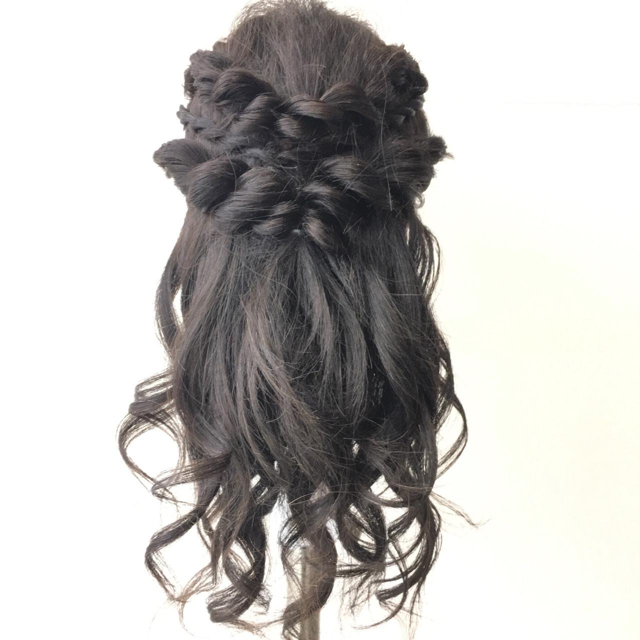 ナチュラル アップスタイル 簡単ヘアアレンジ セミロング ヘアスタイルや髪型の写真・画像