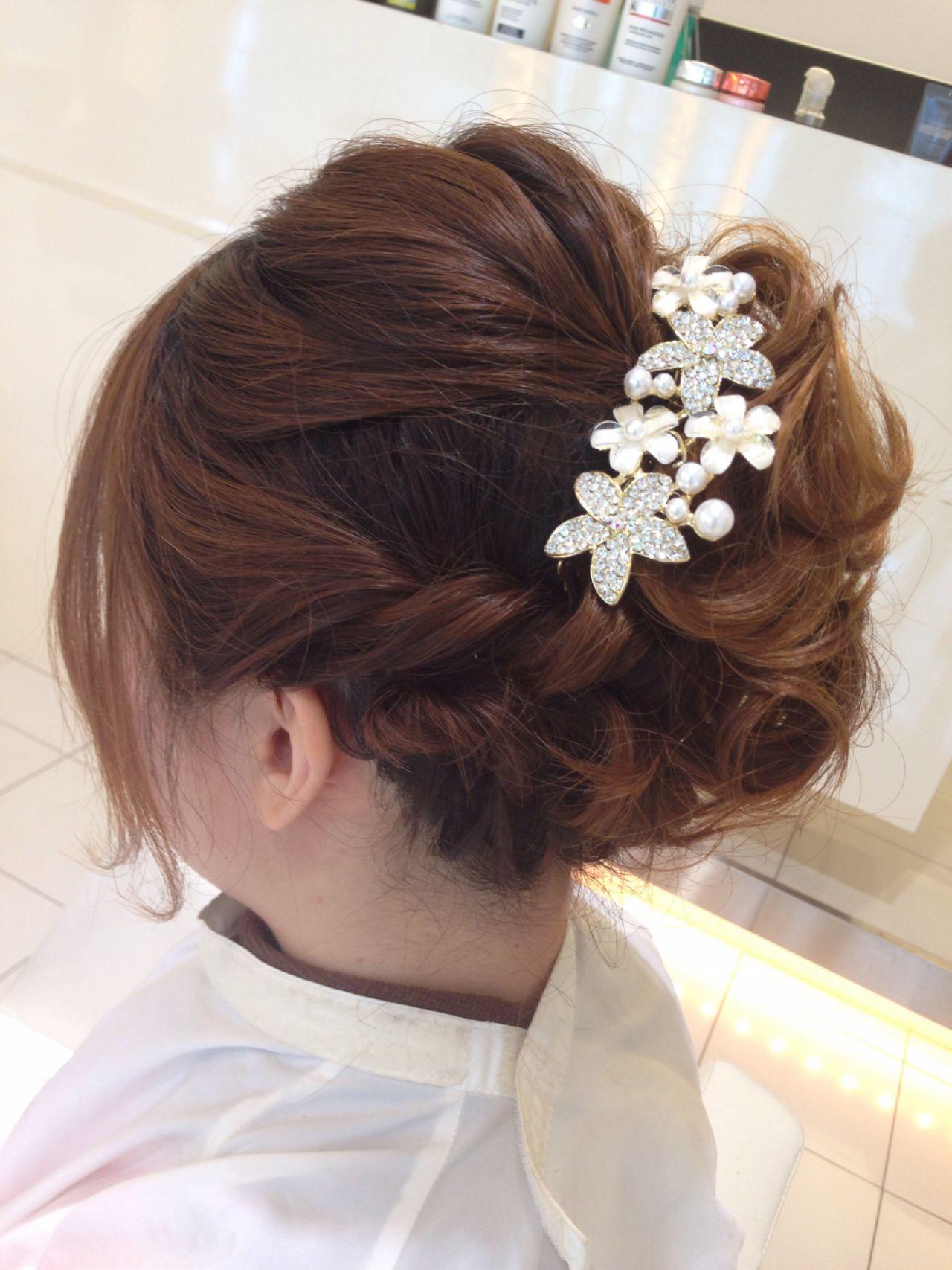 ルーズ ツイスト 結婚式 ヘアアレンジ ヘアスタイルや髪型の写真・画像