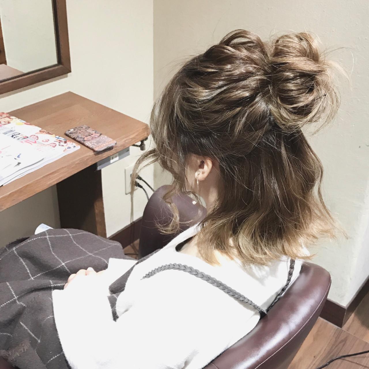 ボブ ヘアアレンジ ミディアム デート ヘアスタイルや髪型の写真・画像