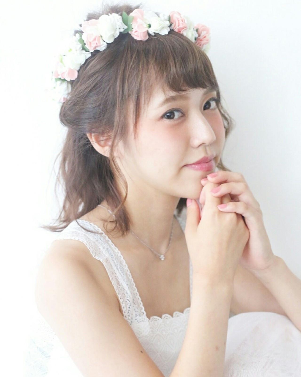お花がたくさん♡結婚式にピッタリな華やかなヘアアレンジ特集 田川 麗