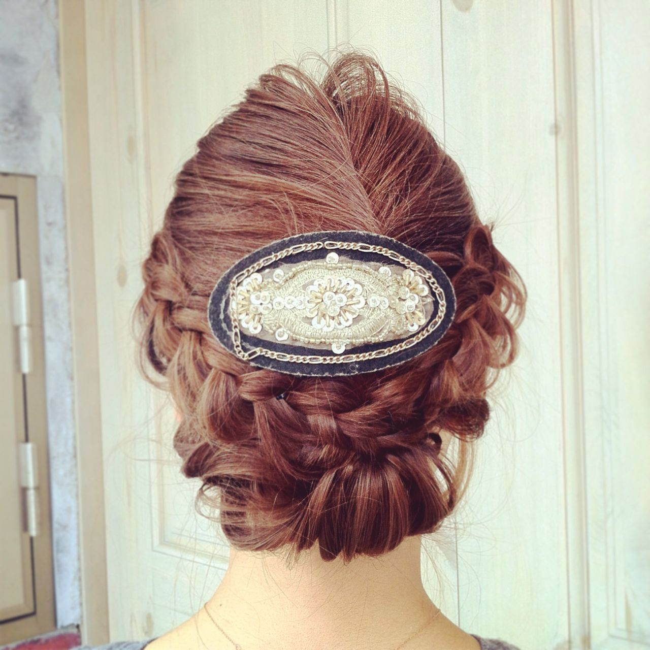 編み込み ヘアアレンジ クラシカル 結婚式 ヘアスタイルや髪型の写真・画像