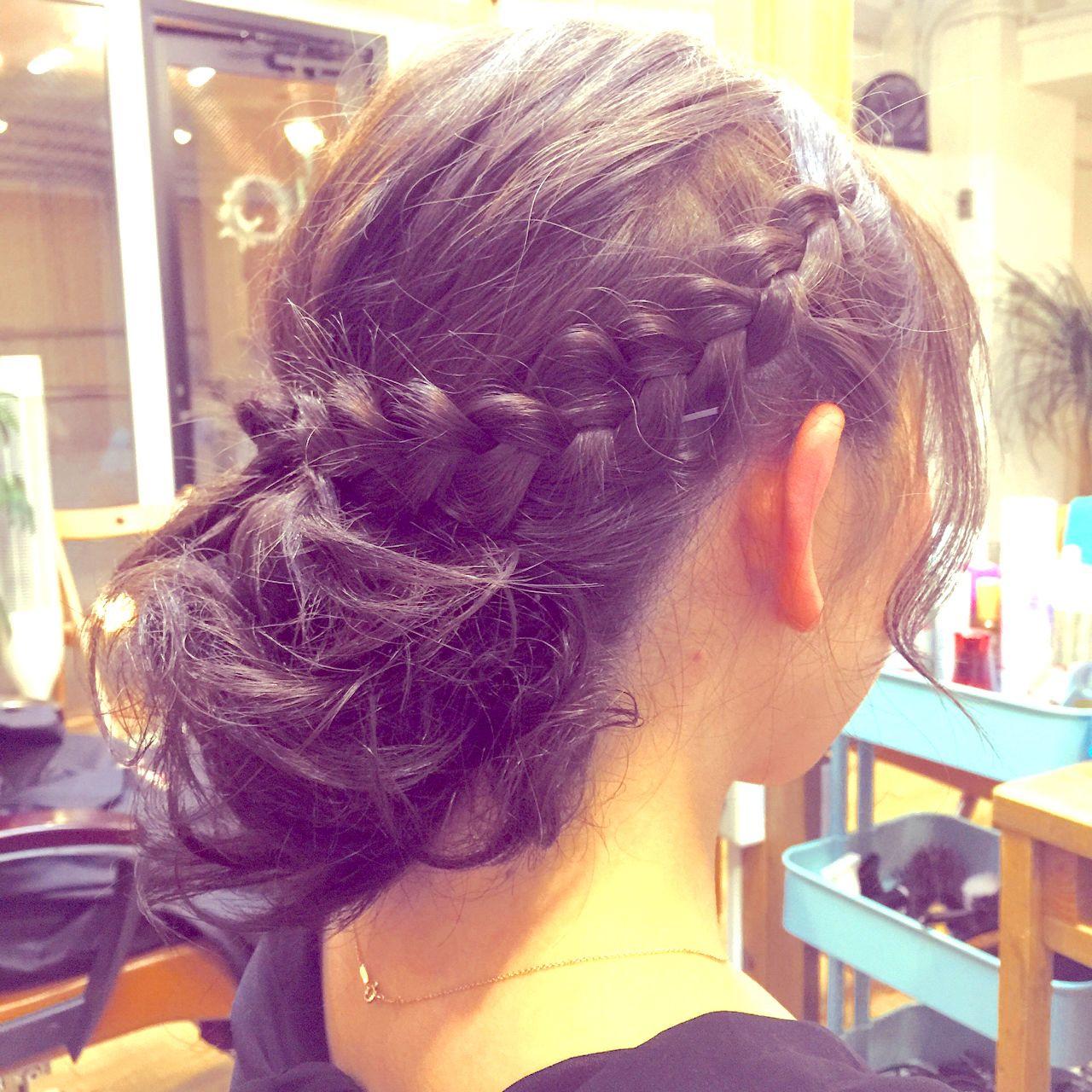 編み込み 結婚式 ヘアアレンジ 二次会 ヘアスタイルや髪型の写真・画像