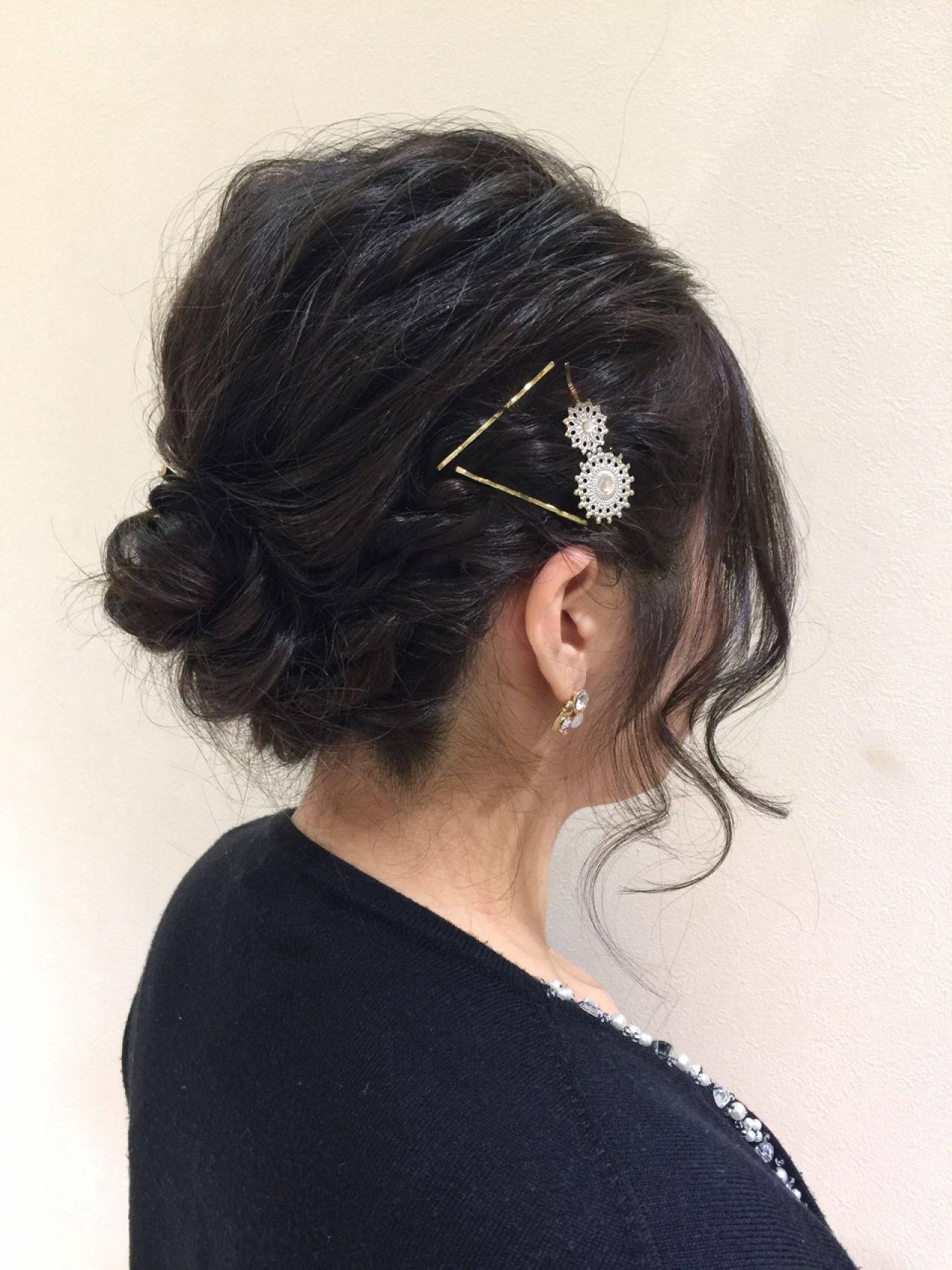 ヘアアレンジ セミロング 結婚式 パーティ ヘアスタイルや髪型の写真・画像