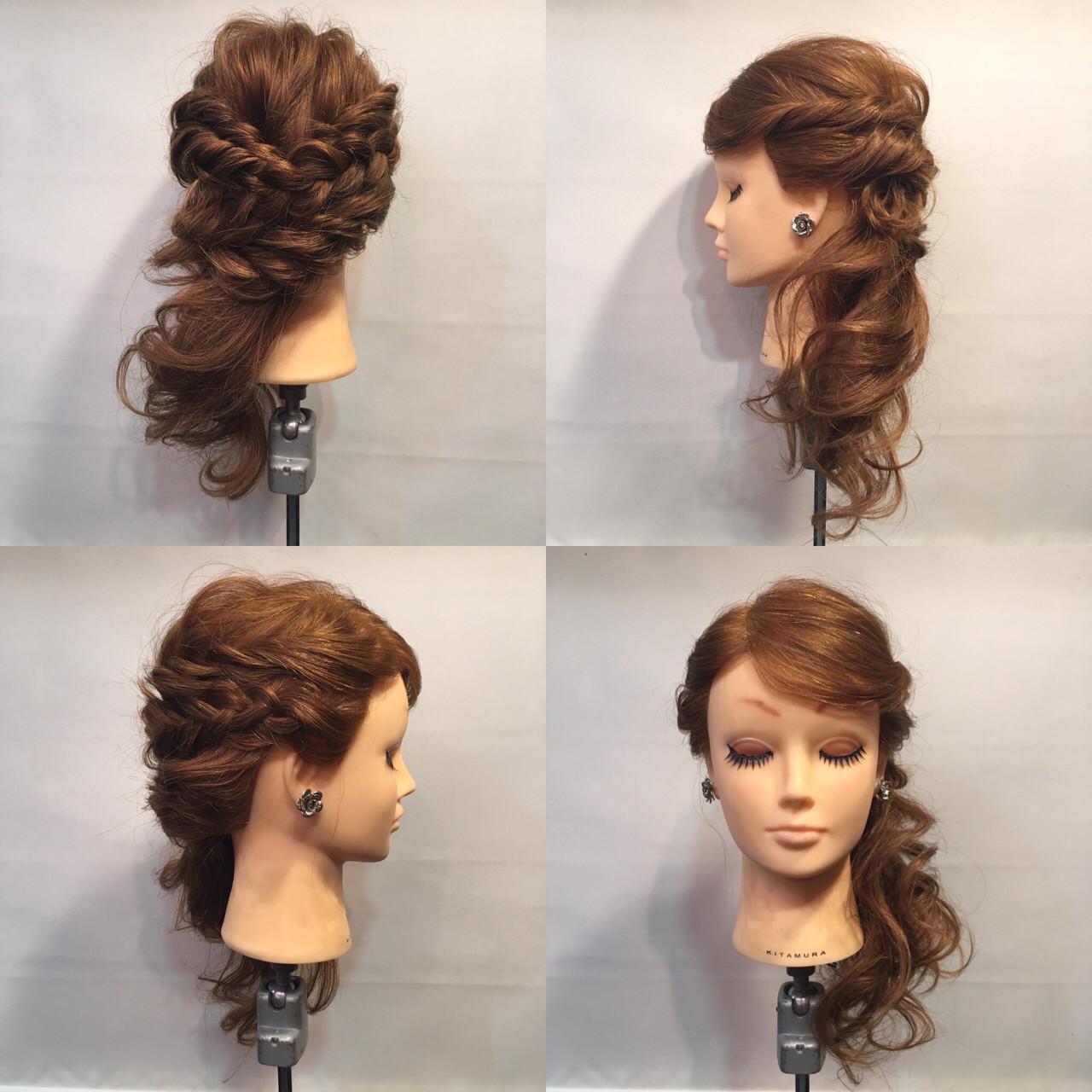 裏編み込み セミロング サイドアップ ヘアアレンジ ヘアスタイルや髪型の写真・画像