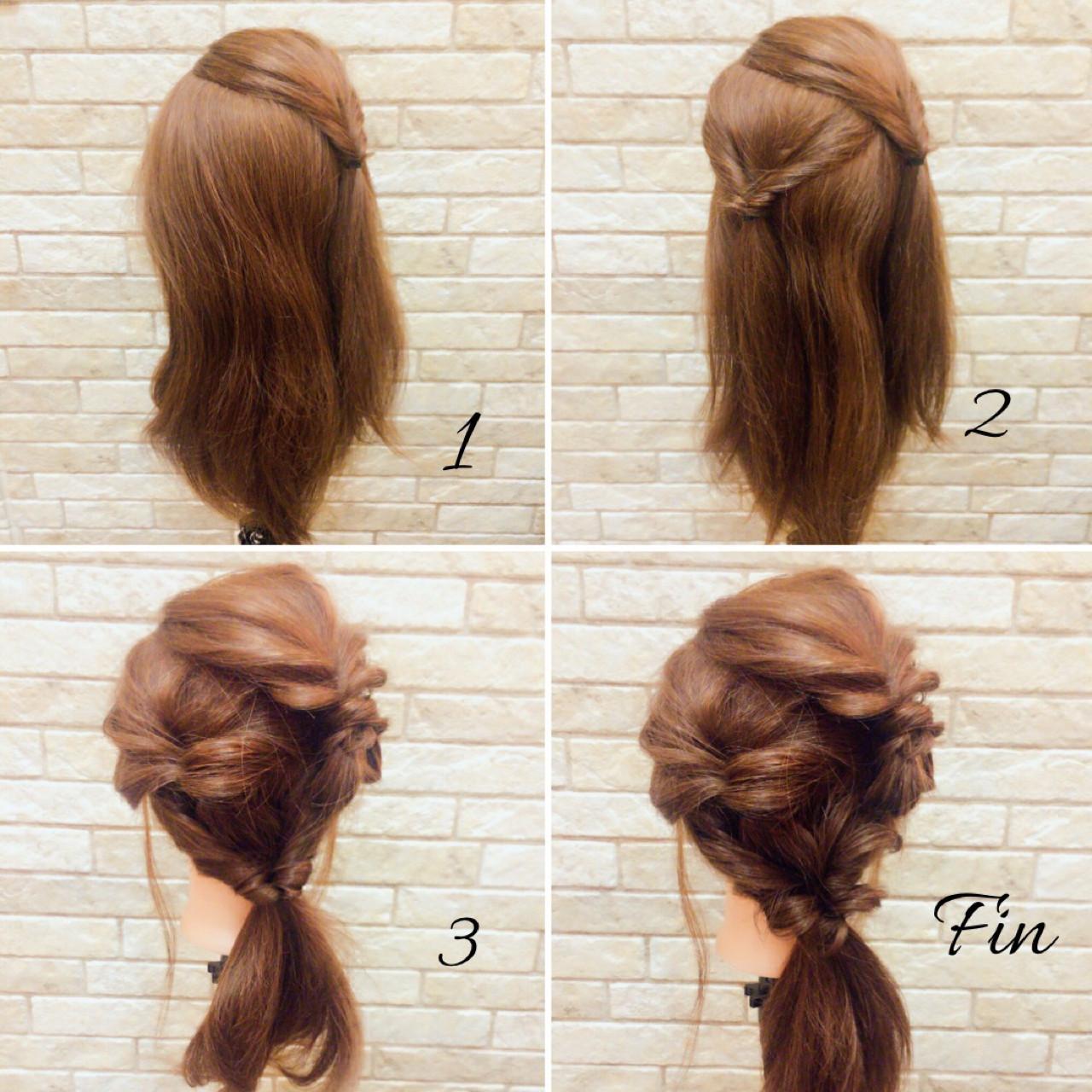 ナチュラル 大人女子 ヘアアレンジ ミディアム ヘアスタイルや髪型の写真・画像