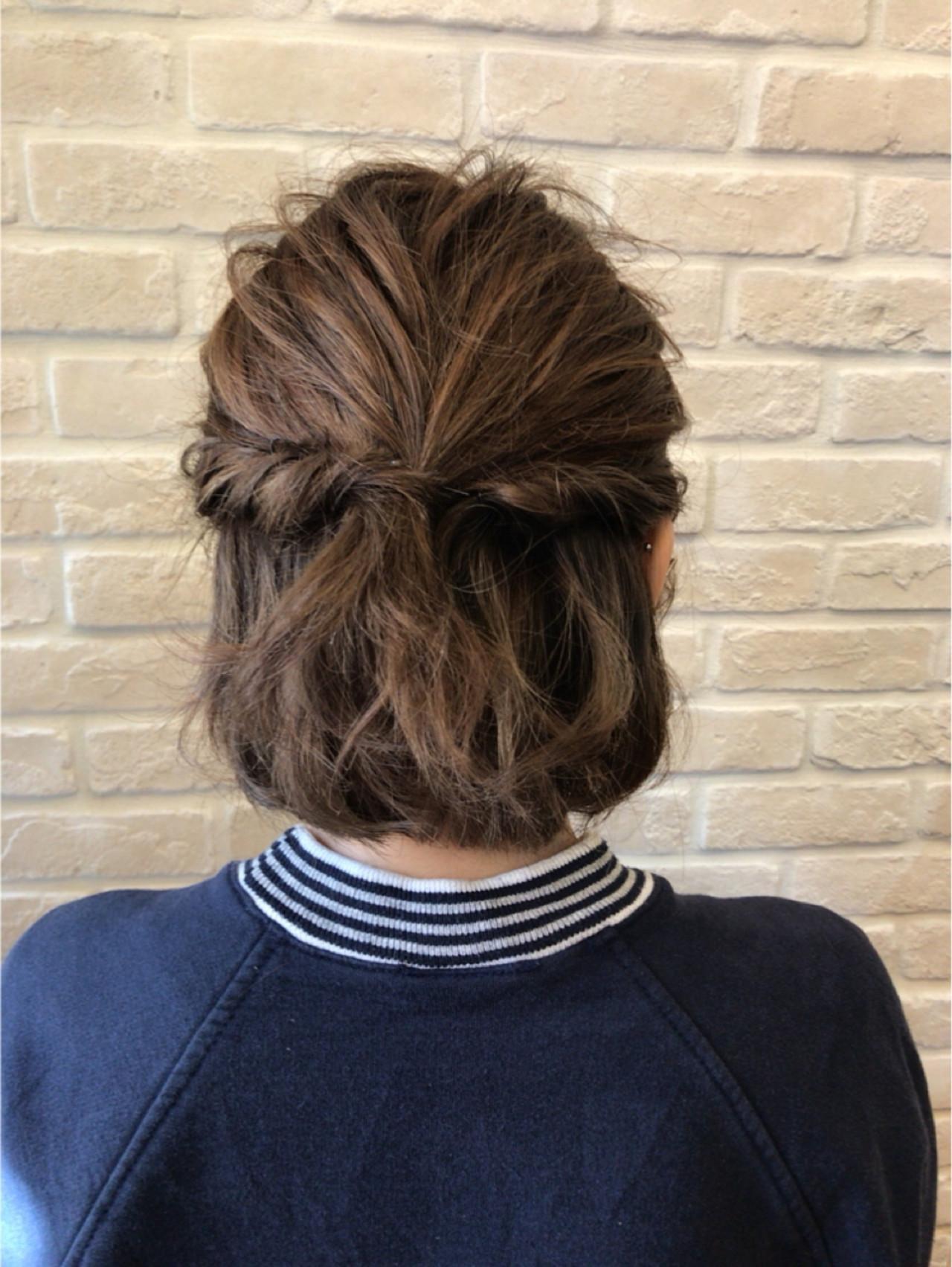 ねじり ショート ハイライト 簡単ヘアアレンジ ヘアスタイルや髪型の写真・画像