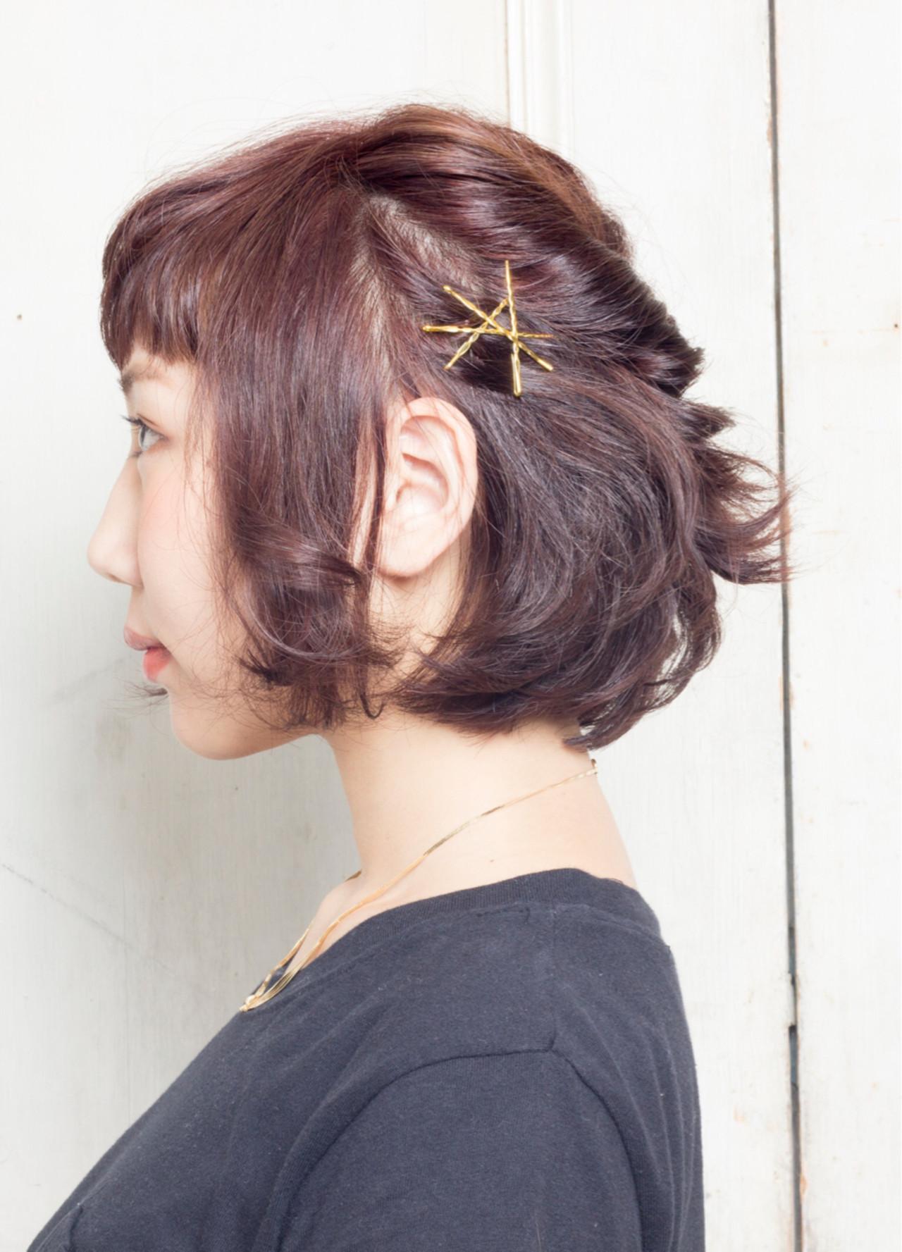 ヘアアレンジ 黒髪 ハーフアップ 猫耳 ヘアスタイルや髪型の写真・画像