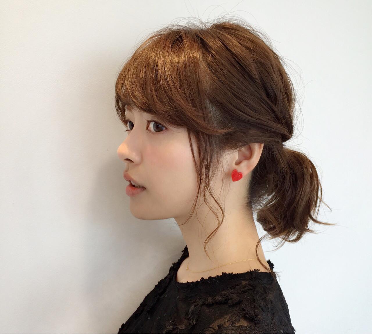 ヘアアレンジ デート ナチュラル 前髪あり ヘアスタイルや髪型の写真・画像