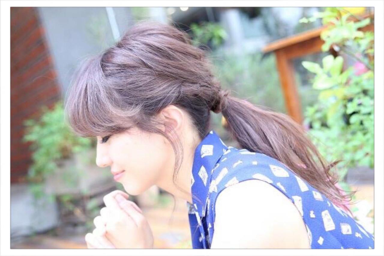 簡単 ポニーテール ロング 編み込み ヘアスタイルや髪型の写真・画像