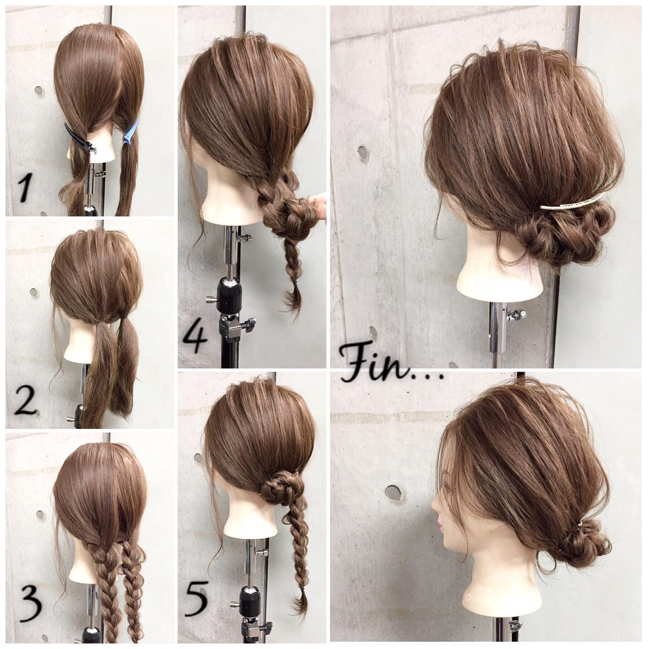 大人女子 セミロング ヘアアレンジ 簡単ヘアアレンジ ヘアスタイルや髪型の写真・画像