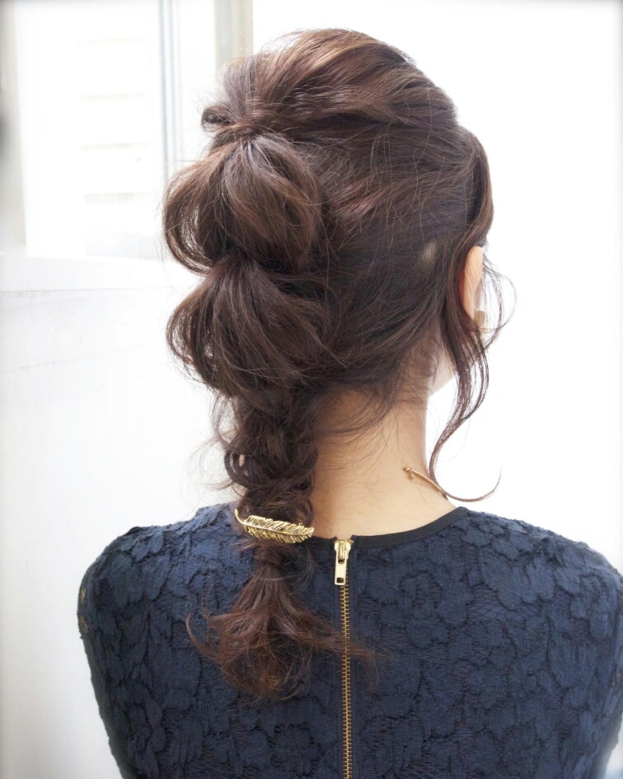 フィッシュボーン 簡単ヘアアレンジ ショート ミディアム ヘアスタイルや髪型の写真・画像