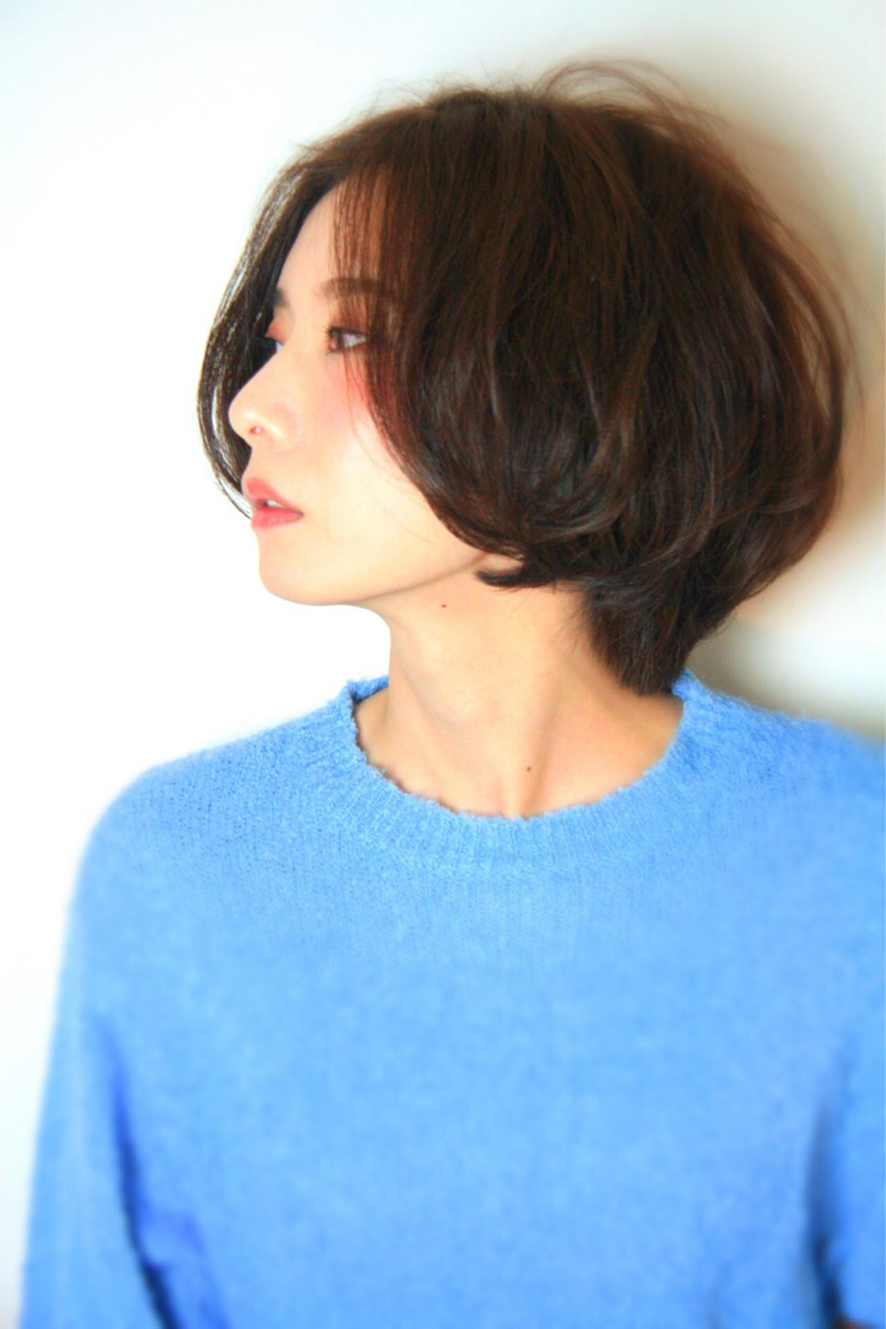 コンサバ 前髪なし ショート 大人女子 ヘアスタイルや髪型の写真・画像