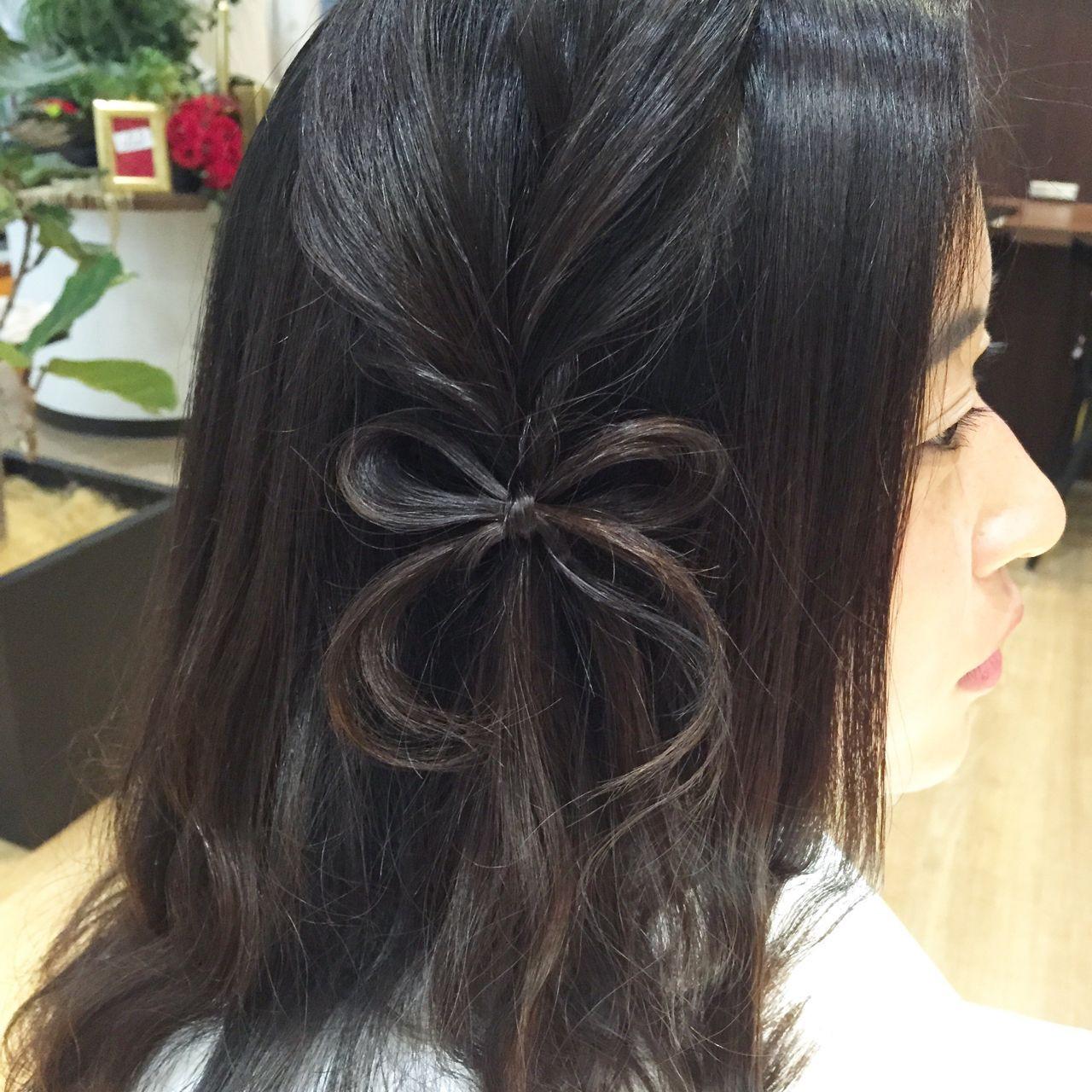 編み込み ヘアアレンジ ヘアアクセ ヘアスタイルや髪型の写真・画像