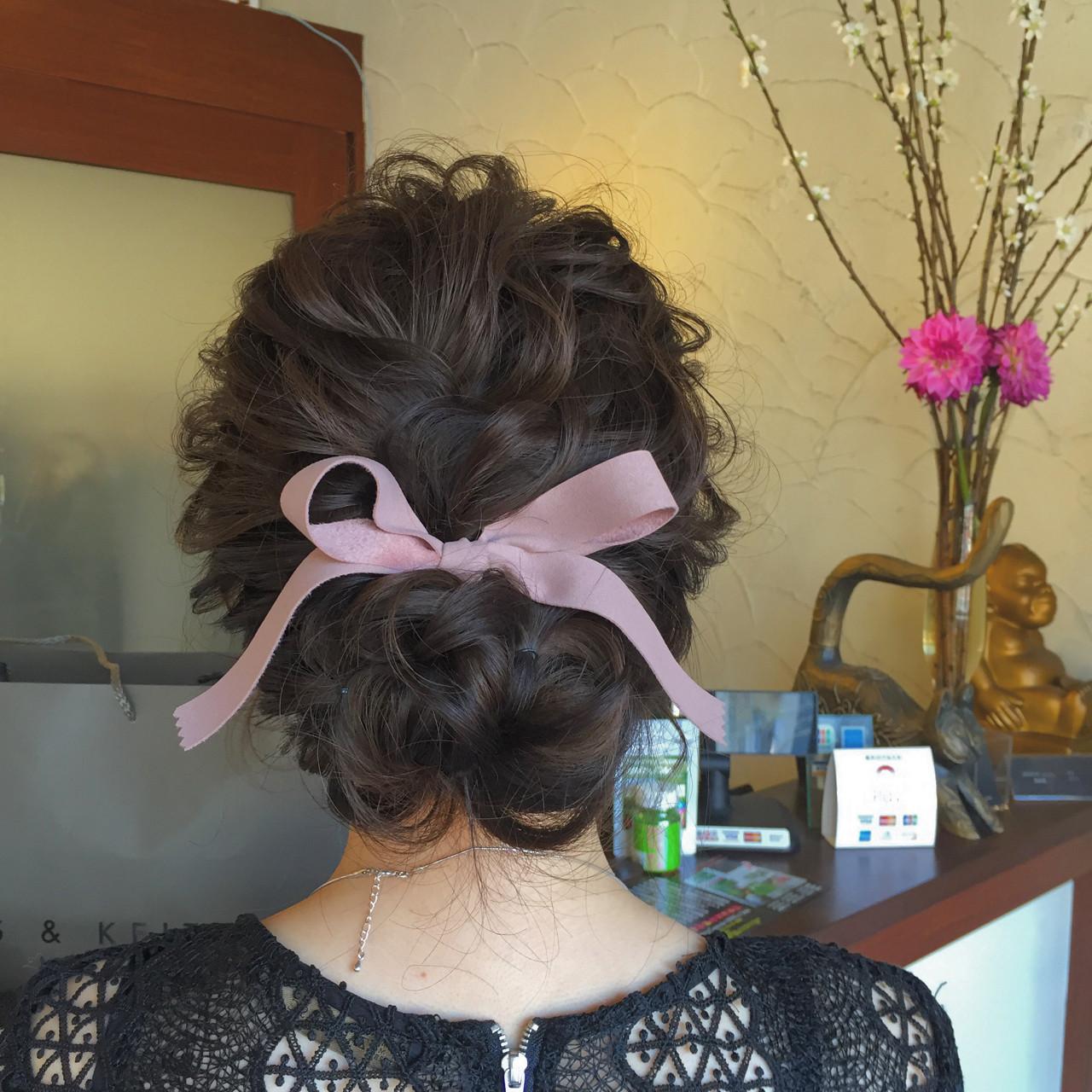 ミディアム ゆるふわ 結婚式 ヘアアレンジ ヘアスタイルや髪型の写真・画像