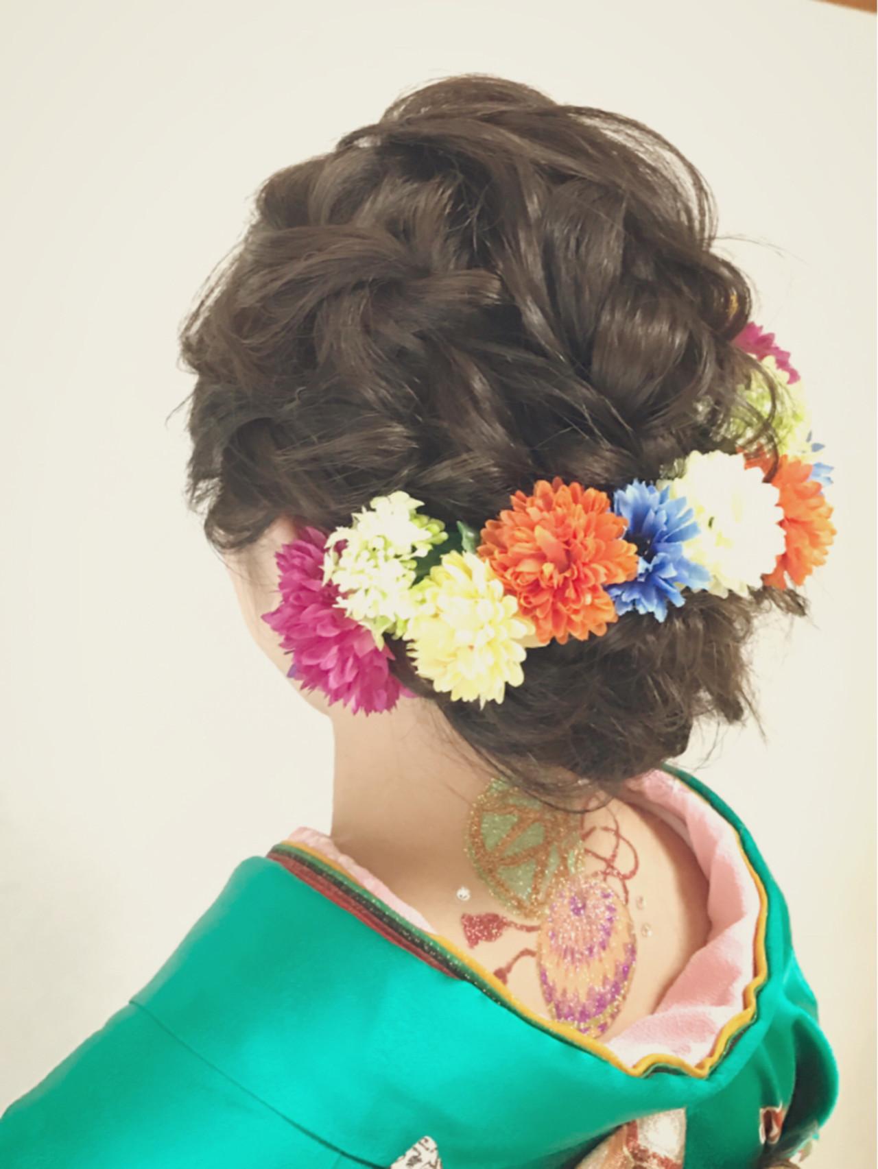 成人式 ヘアアレンジ 暗髪 アップスタイル ヘアスタイルや髪型の写真・画像