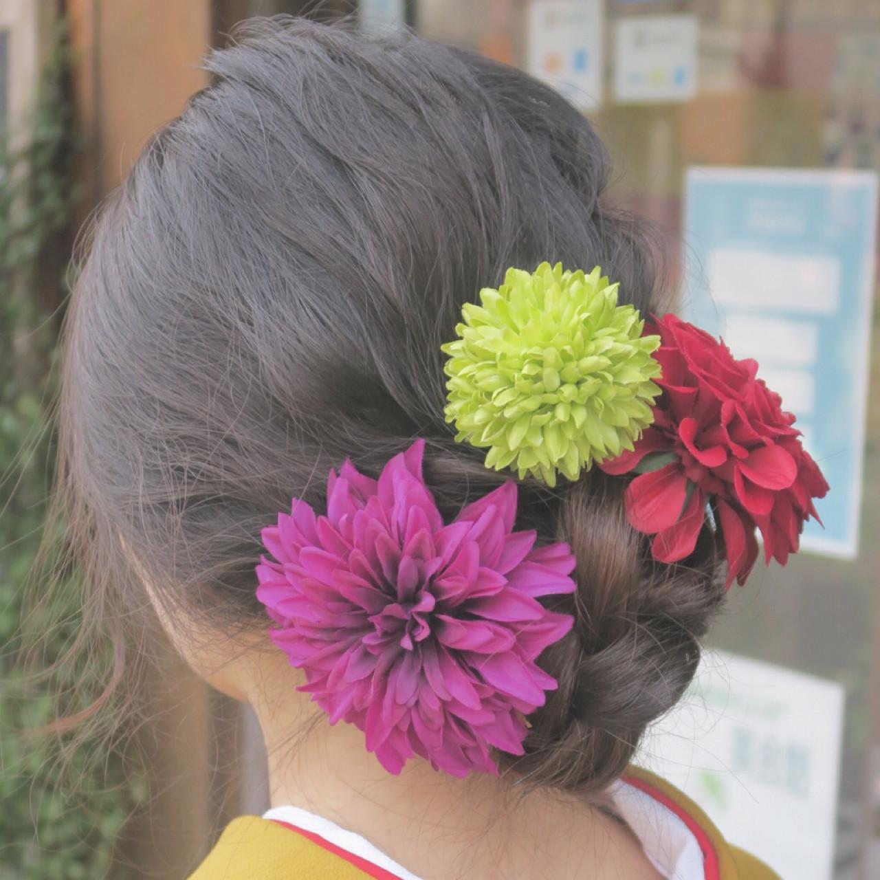 着物 成人式 外国人風 ヘアアレンジ ヘアスタイルや髪型の写真・画像