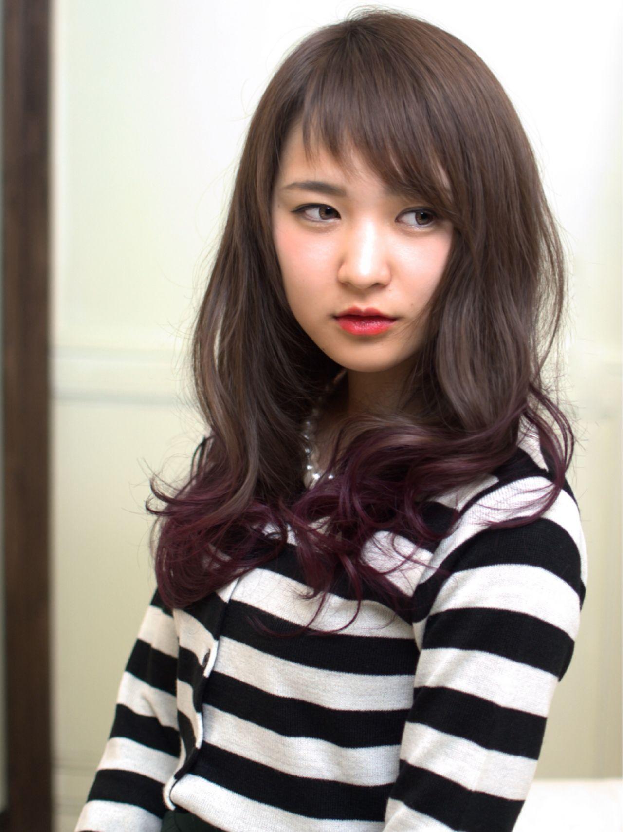ロング グラデーションカラー ショートバング パープル ヘアスタイルや髪型の写真・画像