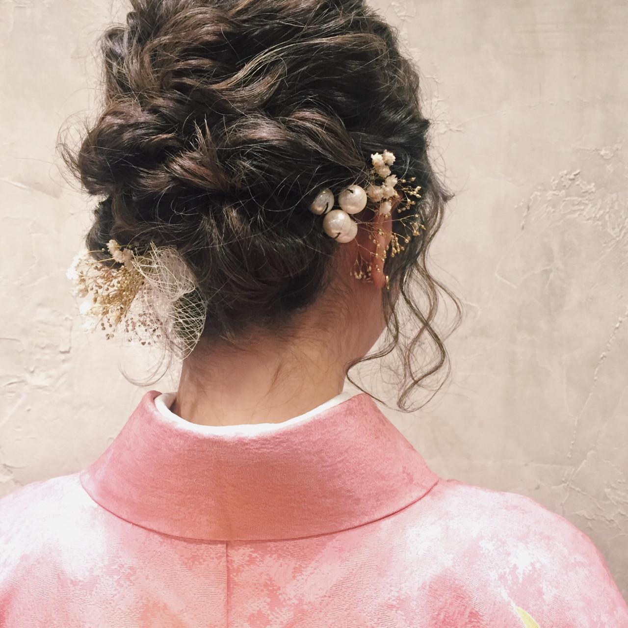 着物 ヘアアレンジ ミディアム 成人式 ヘアスタイルや髪型の写真・画像