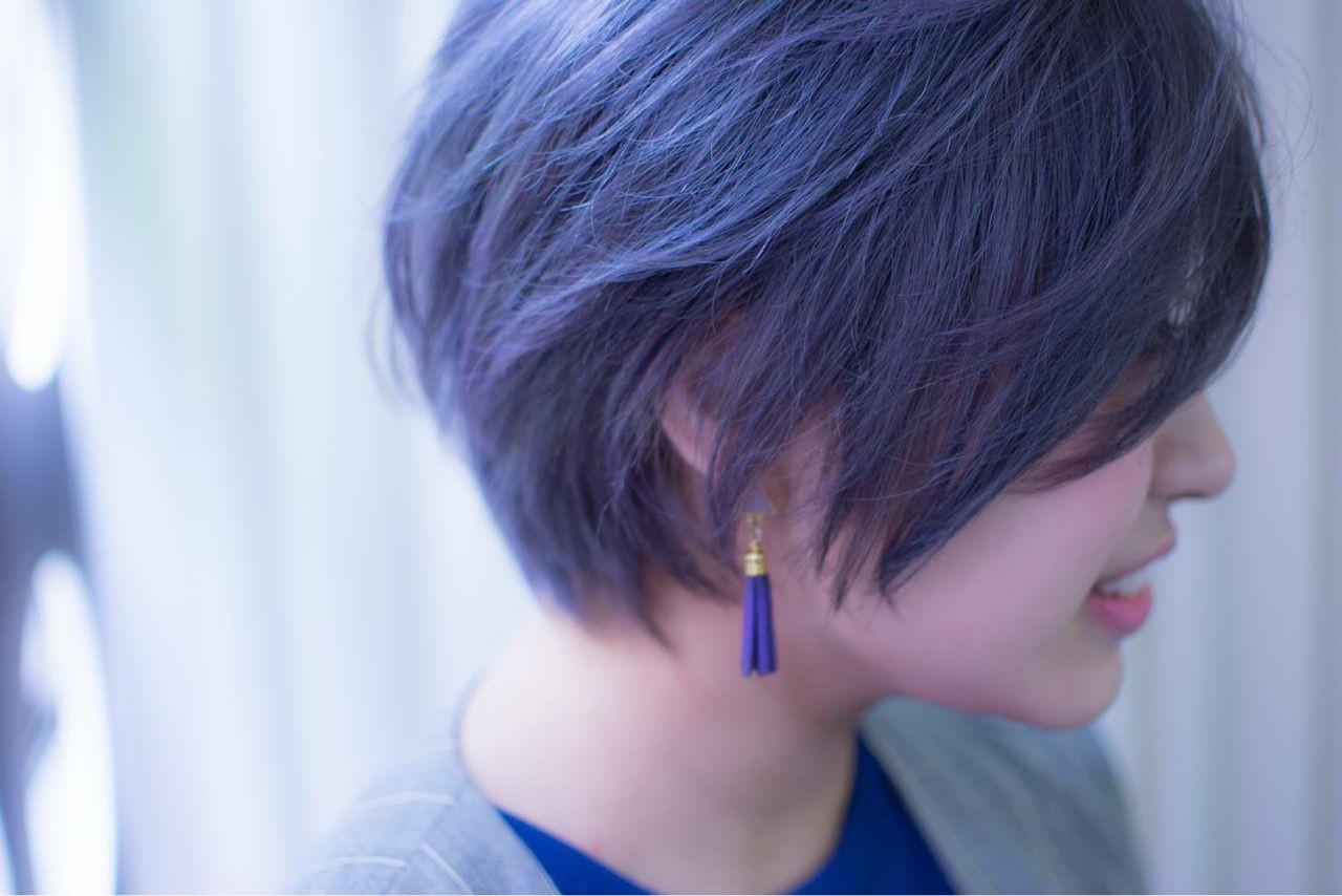 ブルー 小顔 ショート ブルーアッシュ ヘアスタイルや髪型の写真・画像