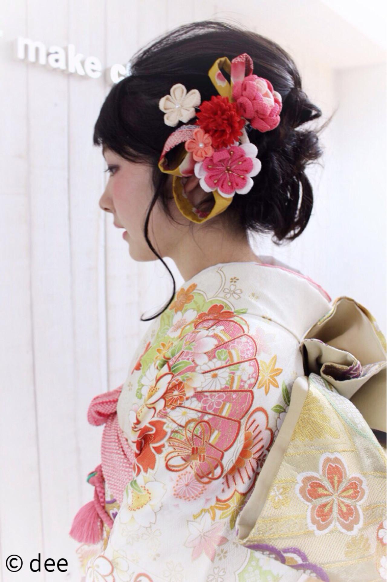 ロング 編み込み ヘアアレンジ 着物 ヘアスタイルや髪型の写真・画像